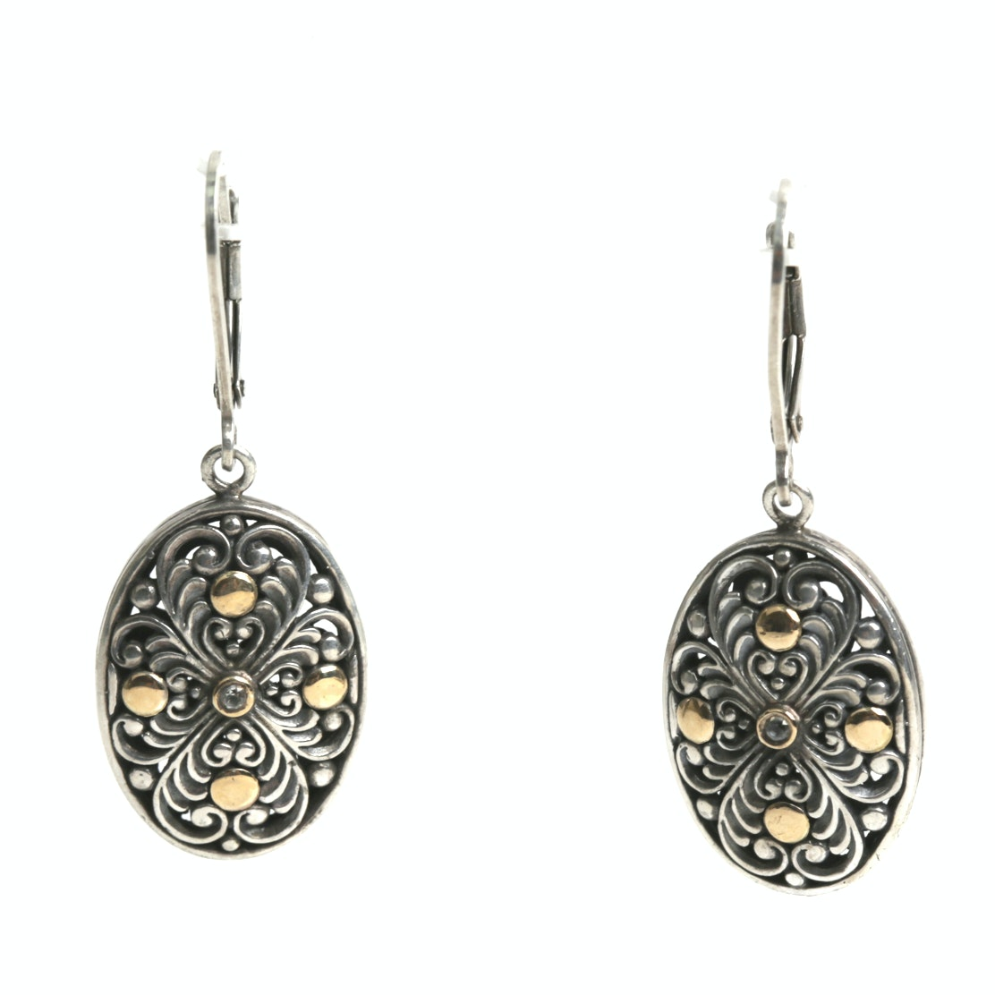 Sterling Silver 18K Yellow Gold Accented Earrings