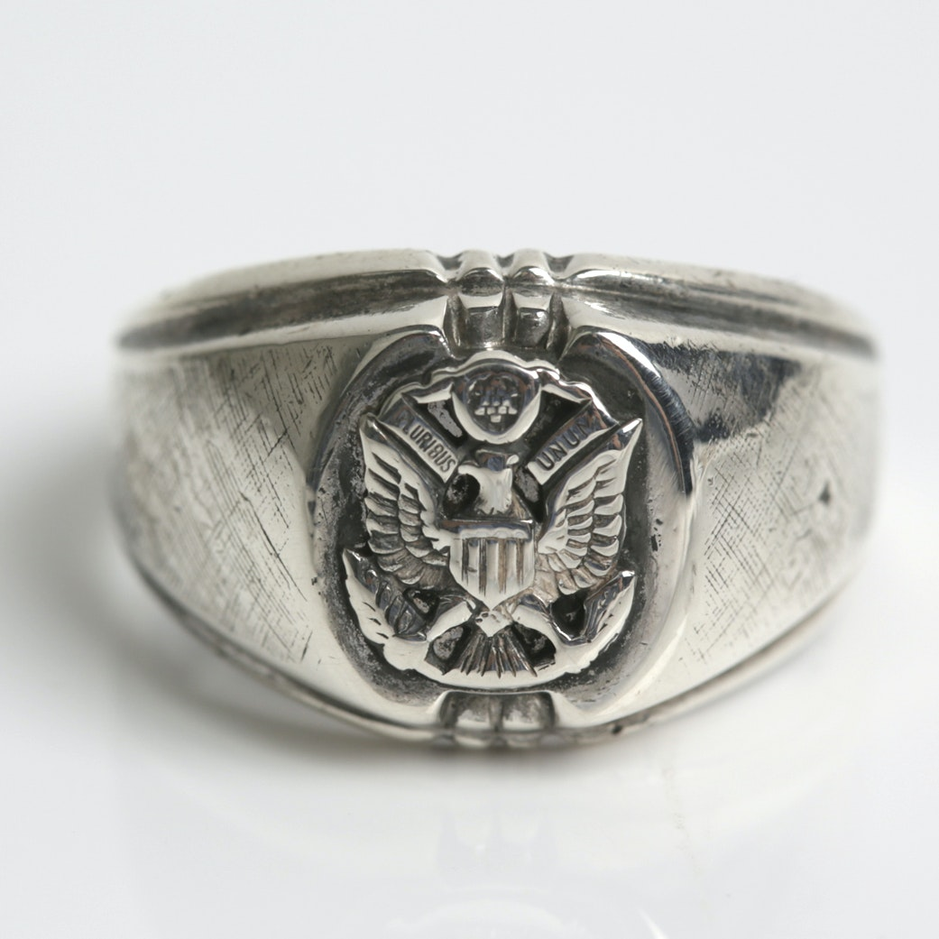 "Vintage Sterling Silver ""Dee Bee"" Military Ring"
