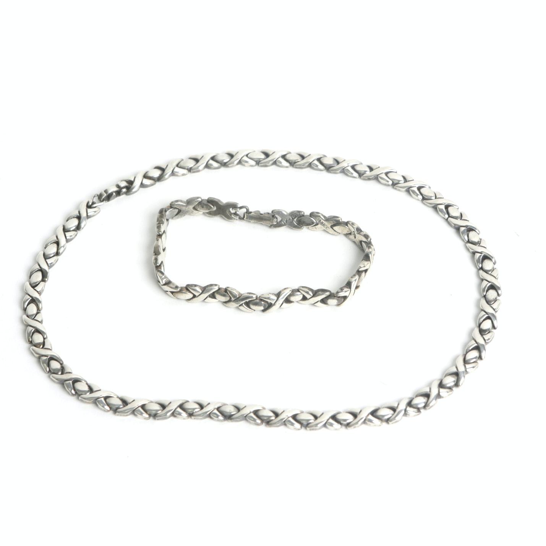 Taxco Sterling Silver Necklace and Bracelet Set