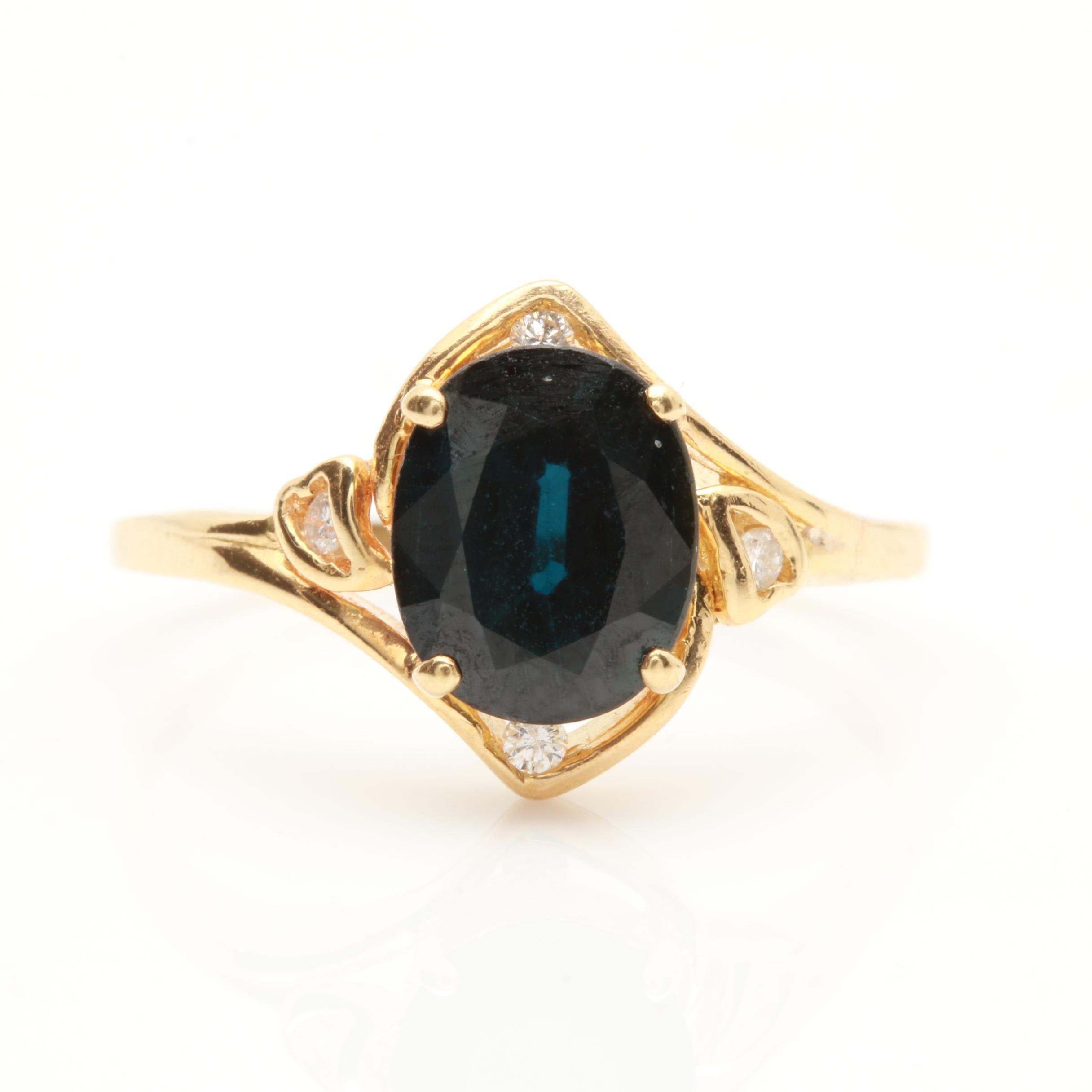 14K Yellow Gold Blue Sapphire and Diamond Accented Ring