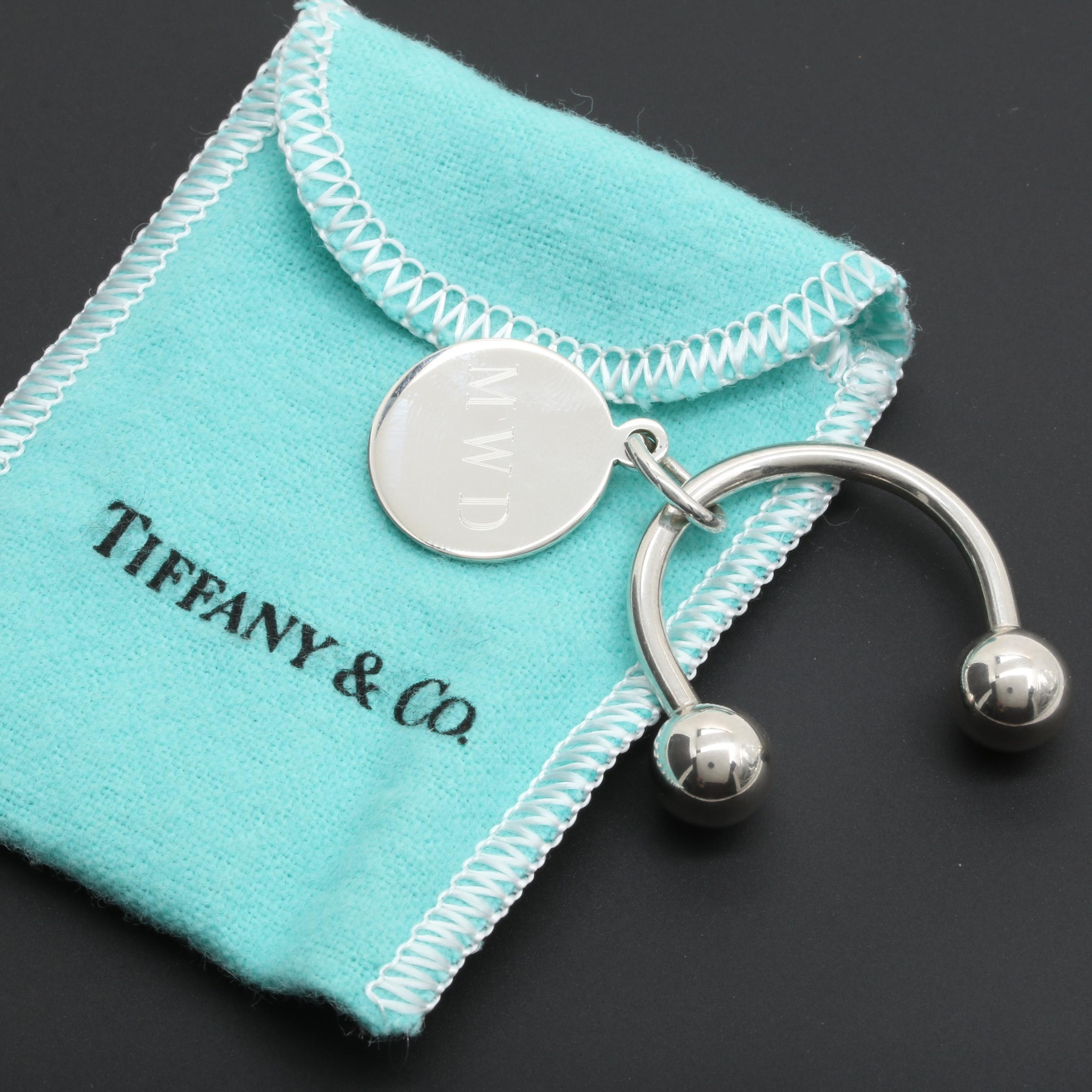 Tiffany & Co. Sterling Silver Round Tag and Key Ring
