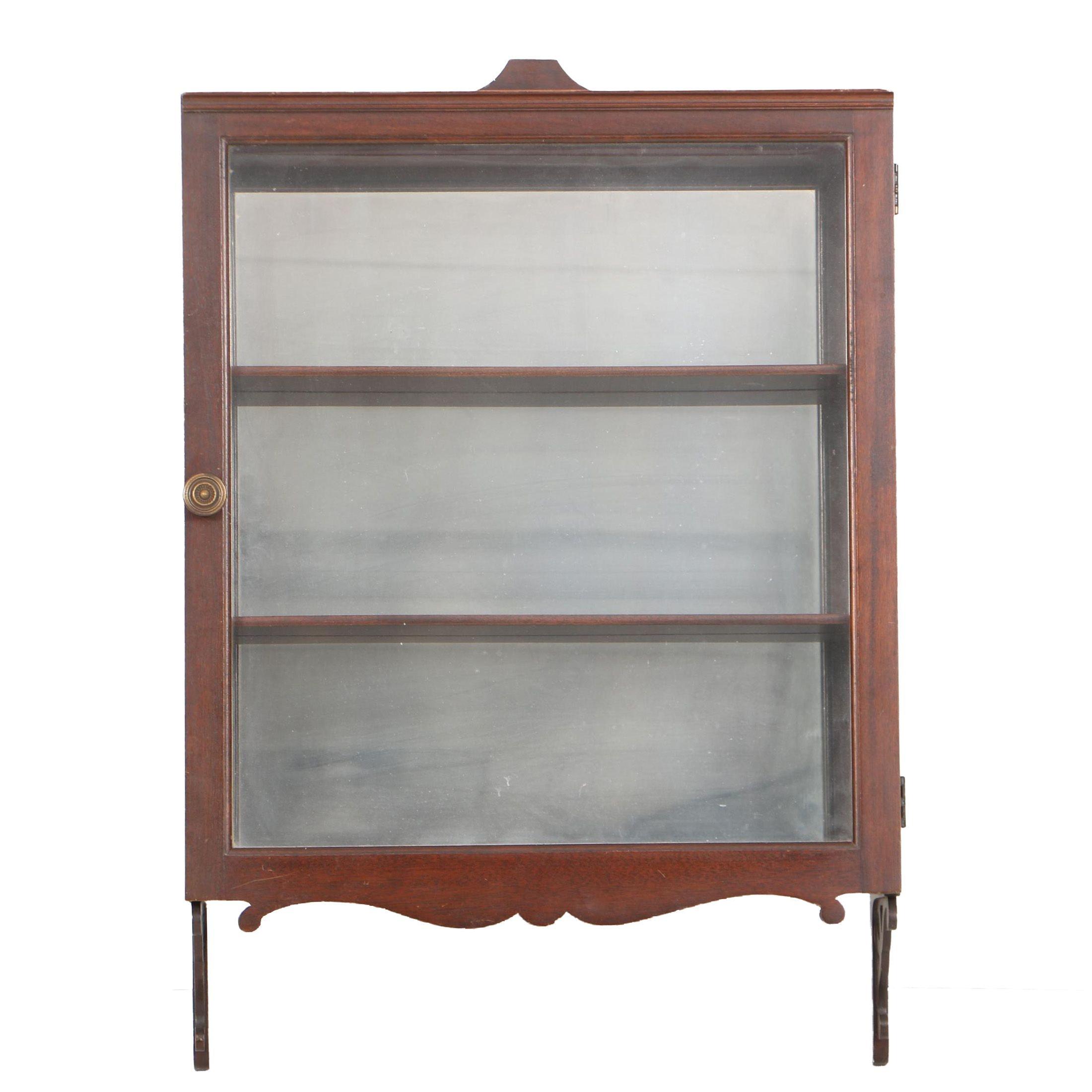Vintage Mahogany Hanging Display Cabinet
