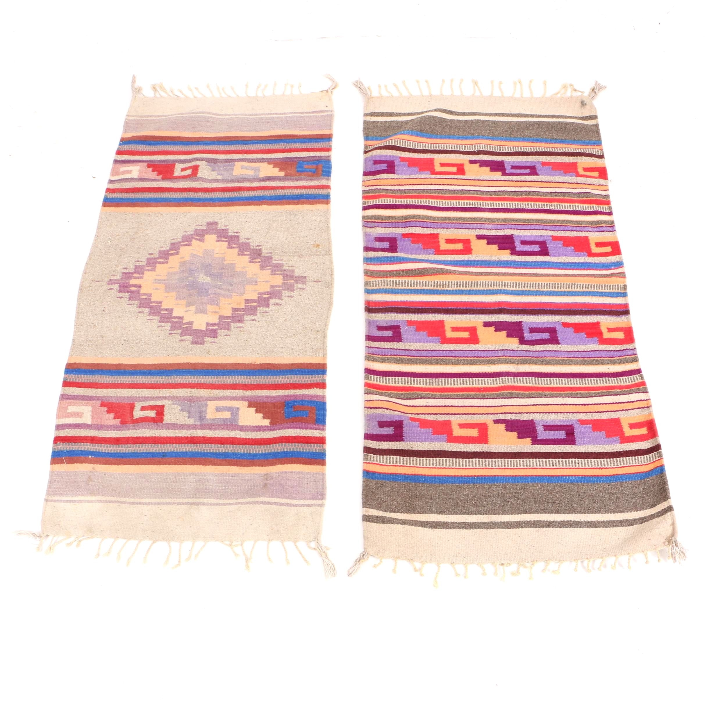 Handwoven Southwestern Style Wool Accent Rugs or Saddle Blankets