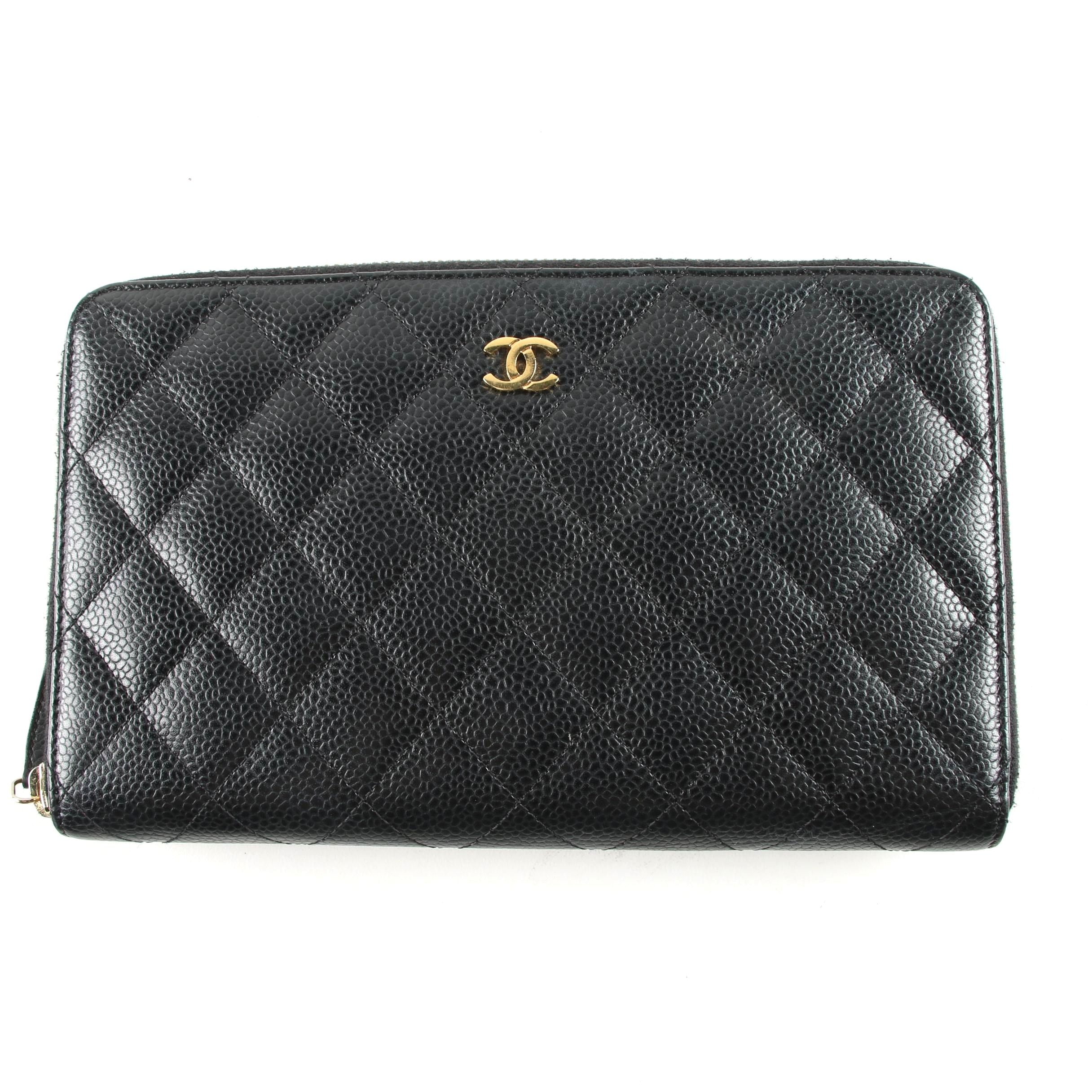 Chanel Black Quilted Caviar Leather Zip-Around Wallet