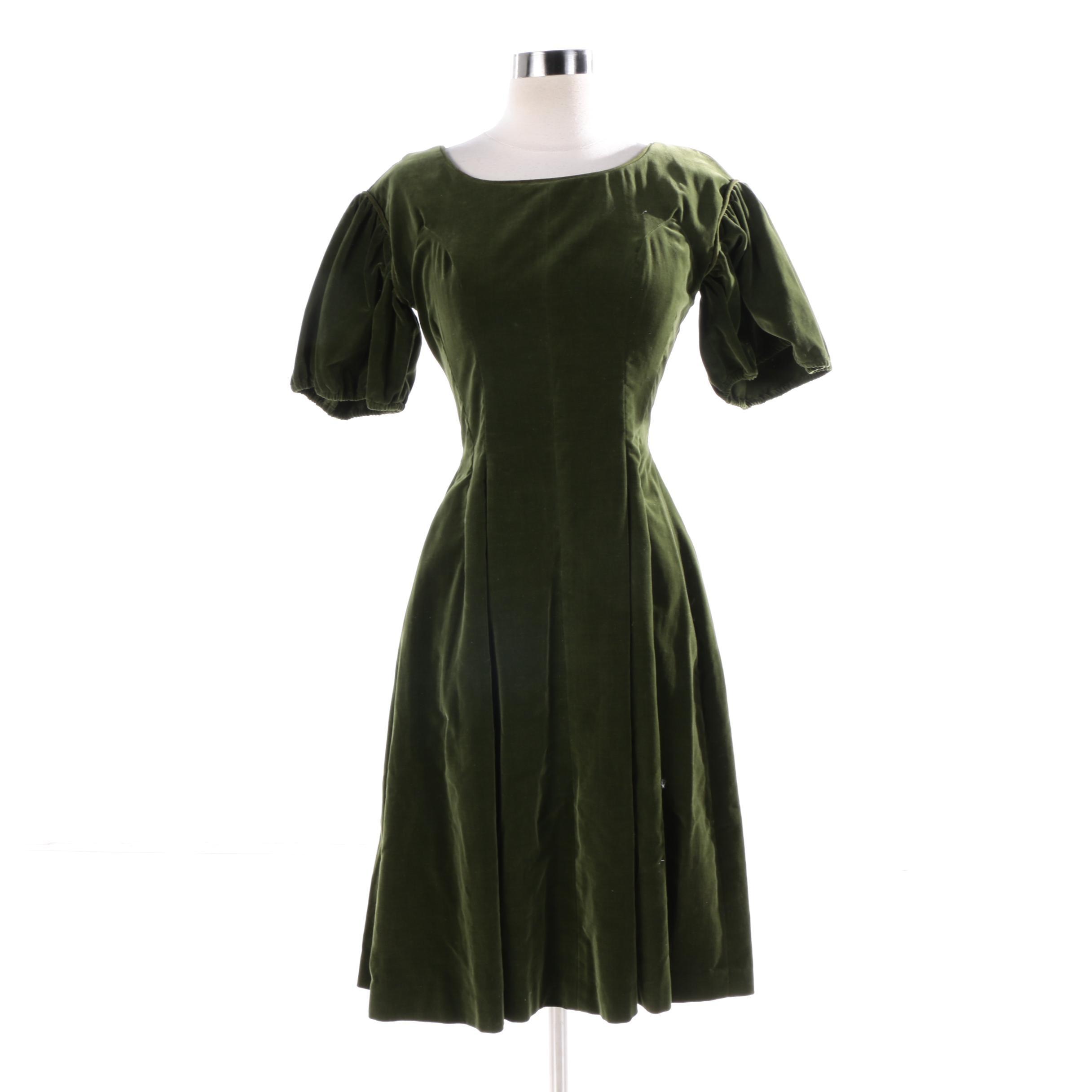 Vintage Handmade Olive Green Velvet Cocktail Dress