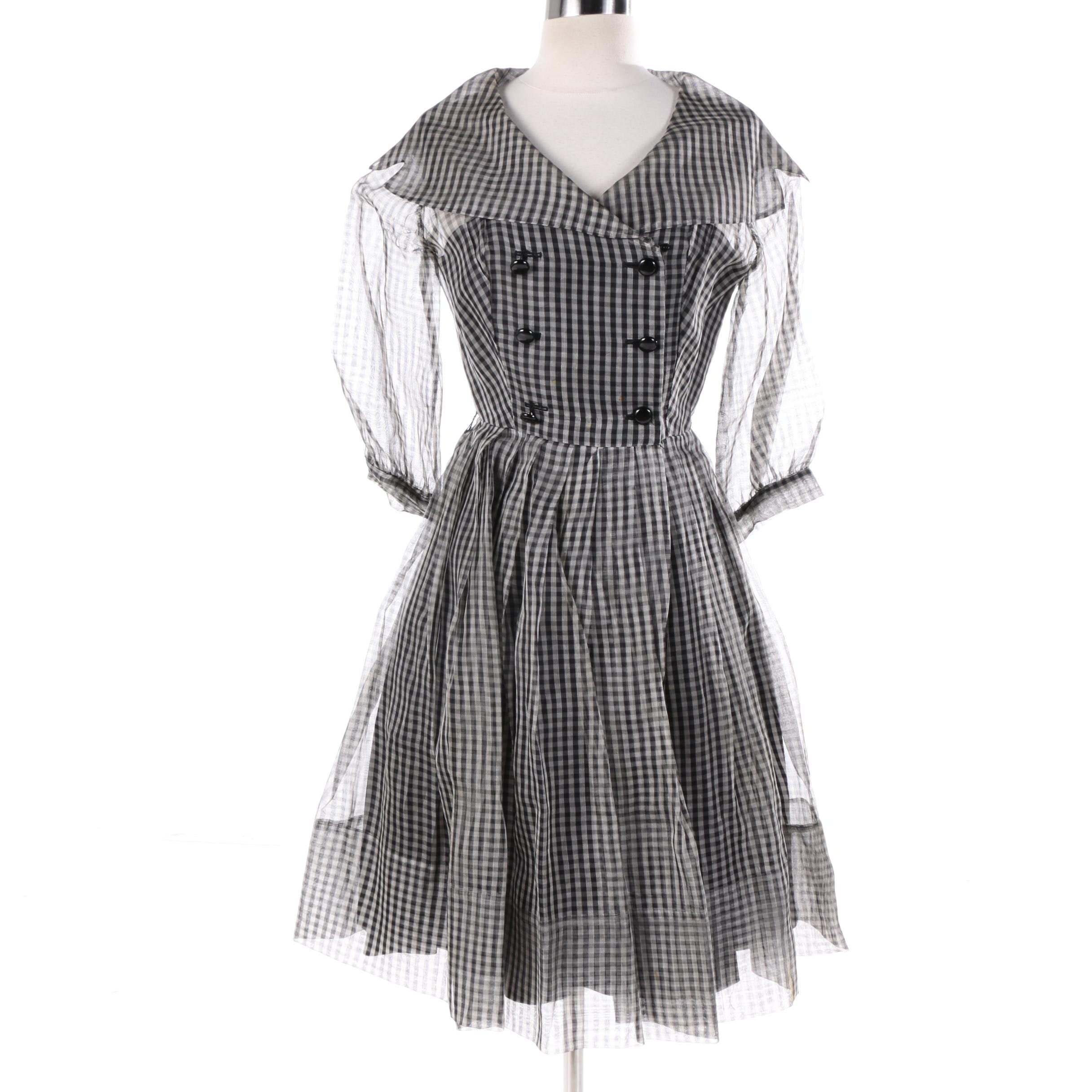 Circa 1950s Vintage Black and White Gingham Double-Breasted Shirtwaist Dress