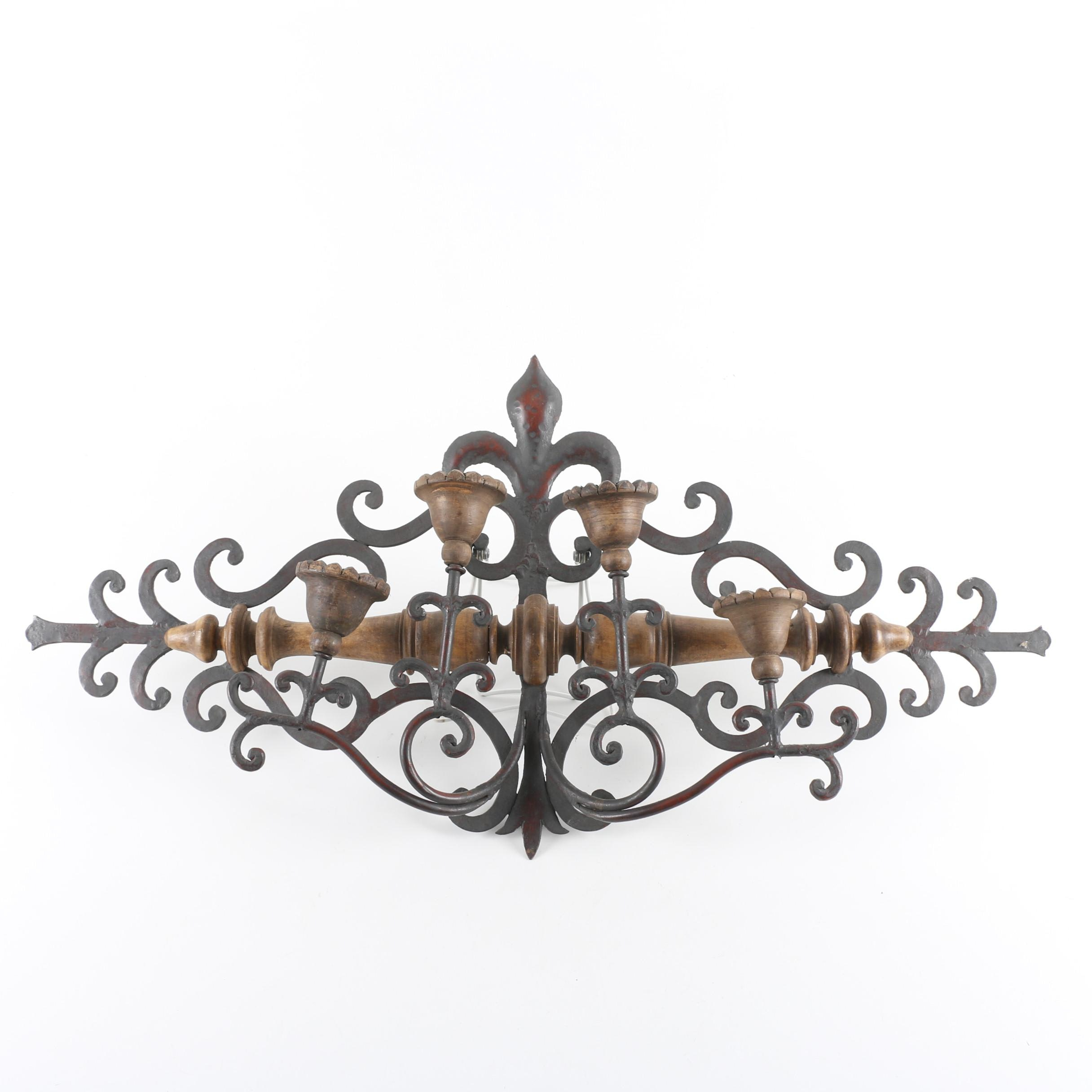 Cast Iron and Wood Candle Sconce