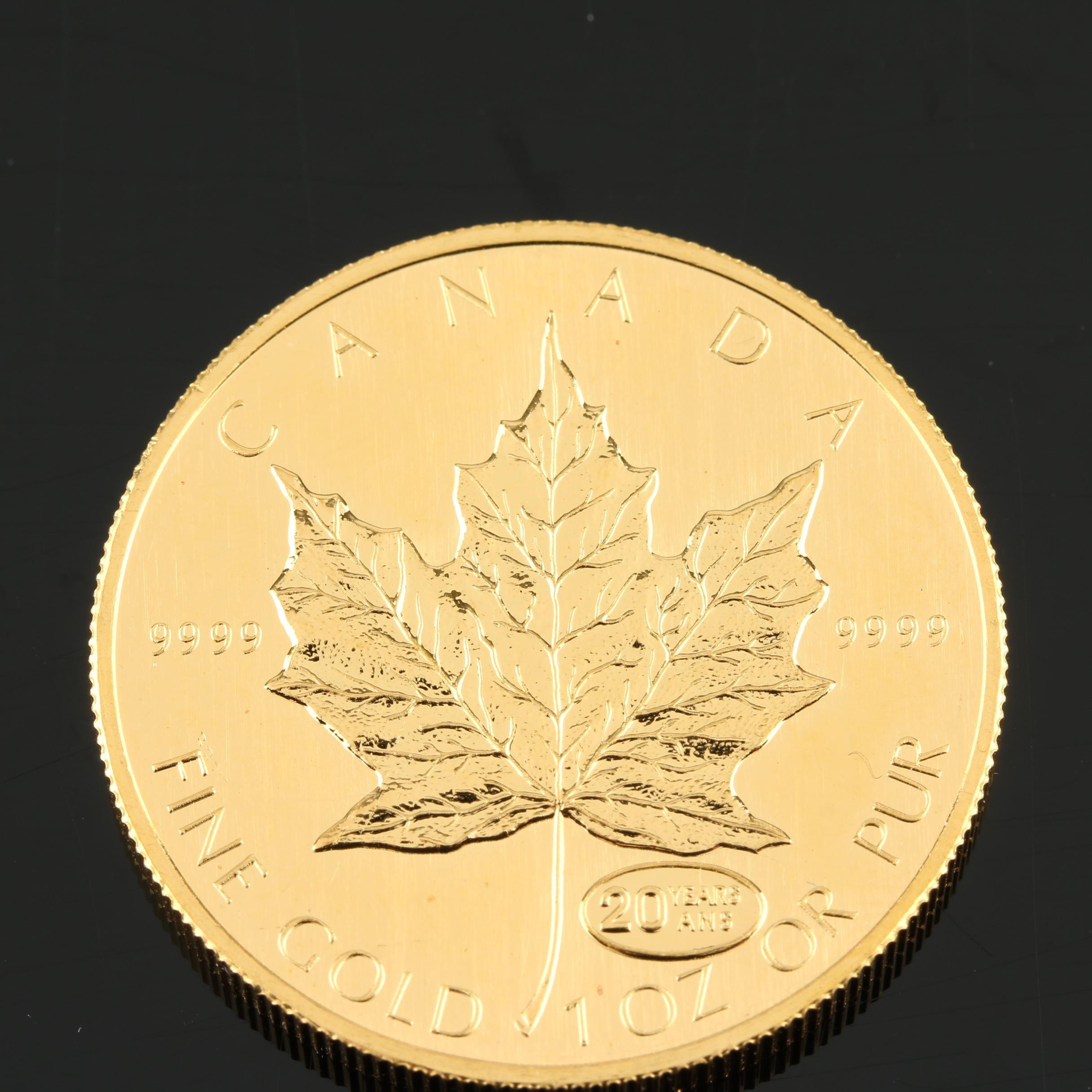 1999 Canadian 20th Anniversary $50 Gold Maple Leaf Bullion Coin
