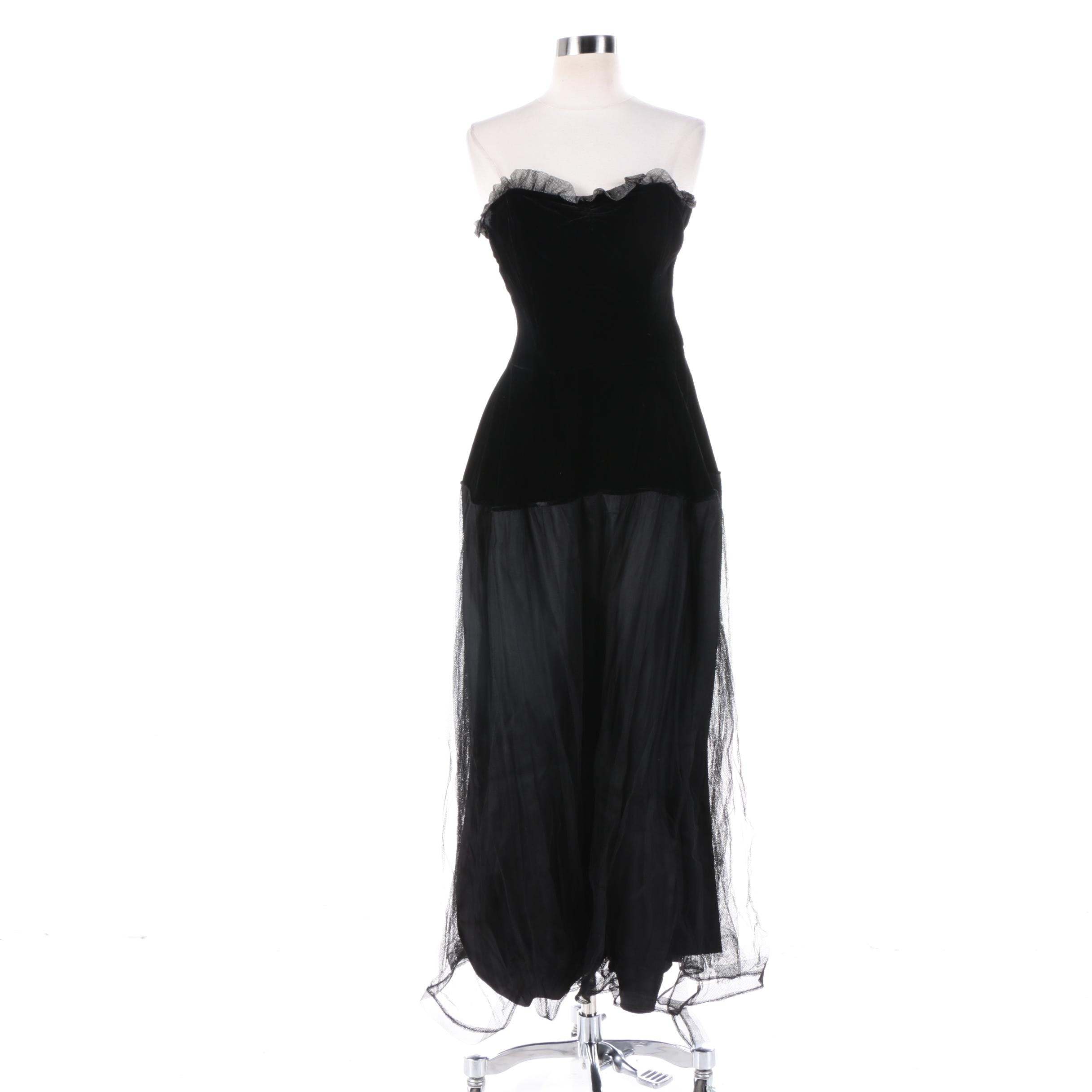 Vintage Black Velvet Strapless Gown with Tulle Skirt