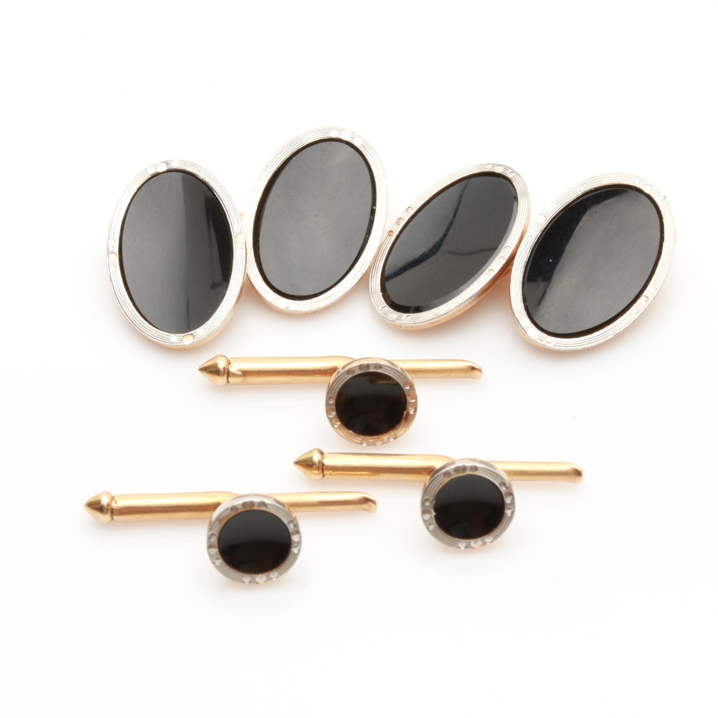 Larter & Sons 14K Yellow Gold and Platinum Black Onyx Cufflinks and Shirt Studs