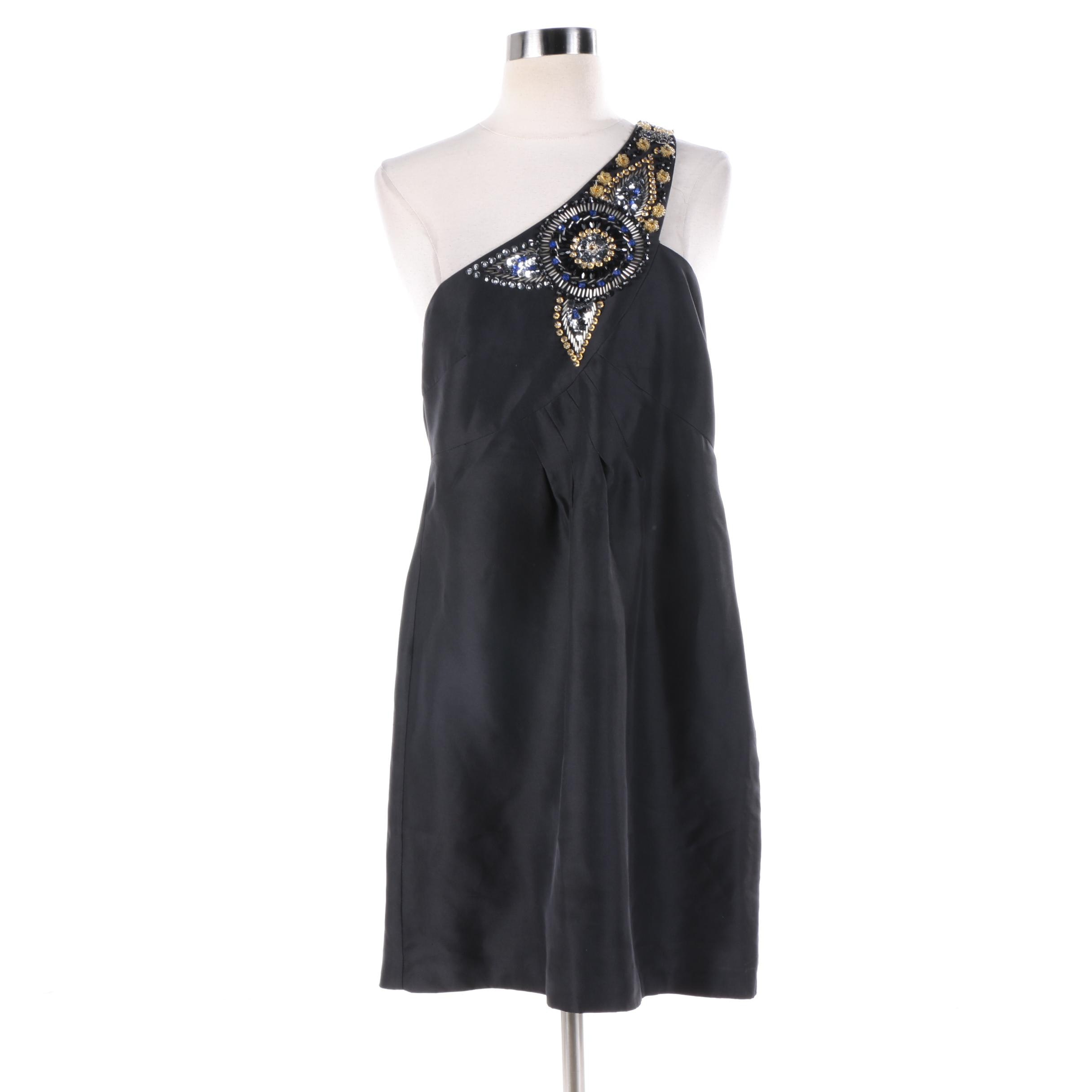 Tibi of New York Embellished Black Silk One-Shoulder Cocktail Dress
