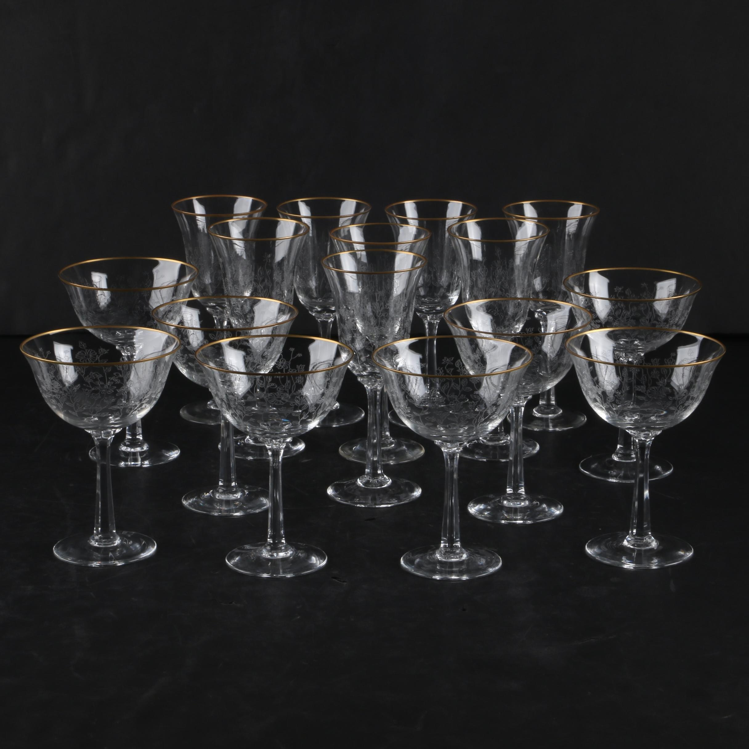 """Collection of Lenox """"Fontaine"""" Gilt Rimmed Stemware"""