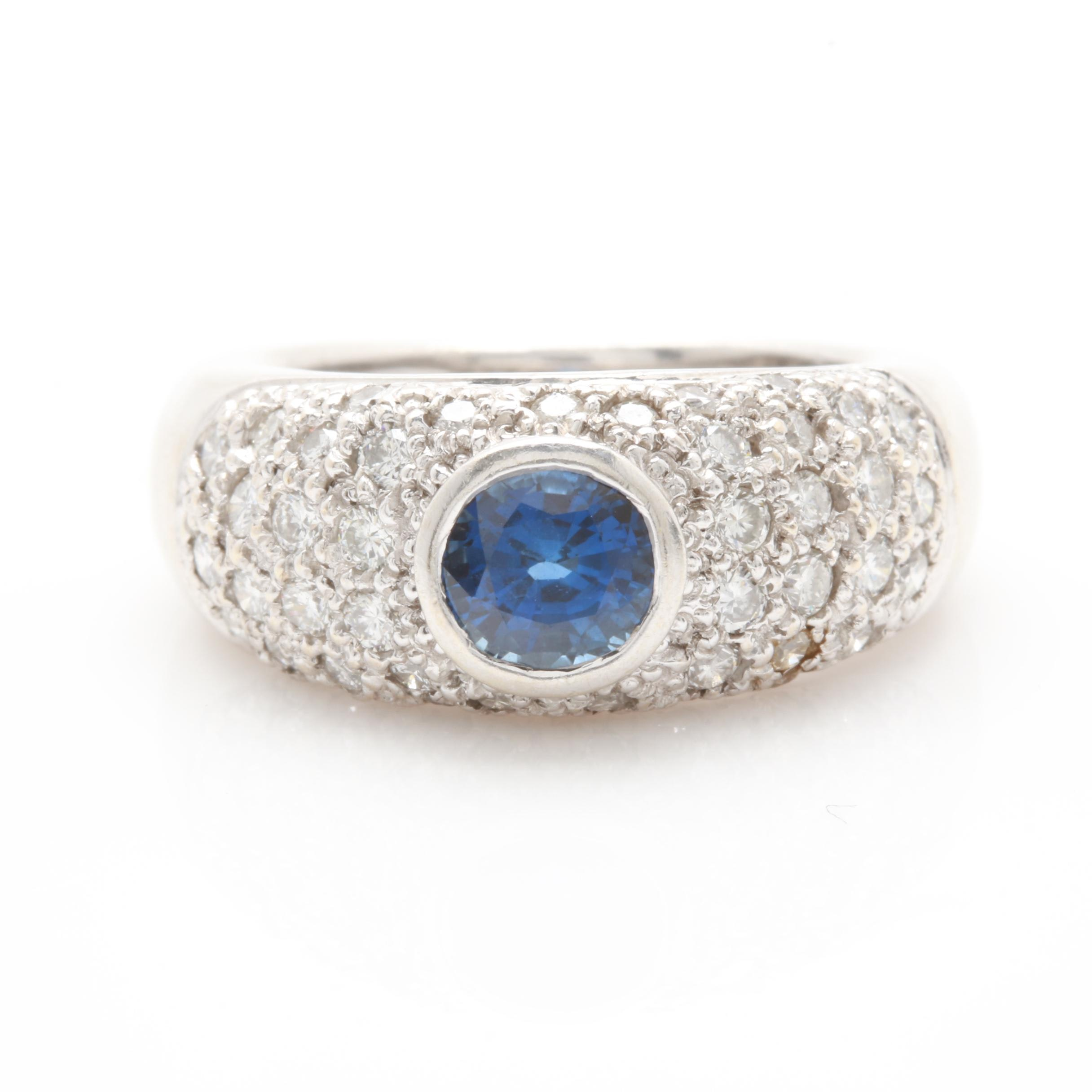 14K White Gold Blue Sapphire and 1.00 CTW Diamond Ring
