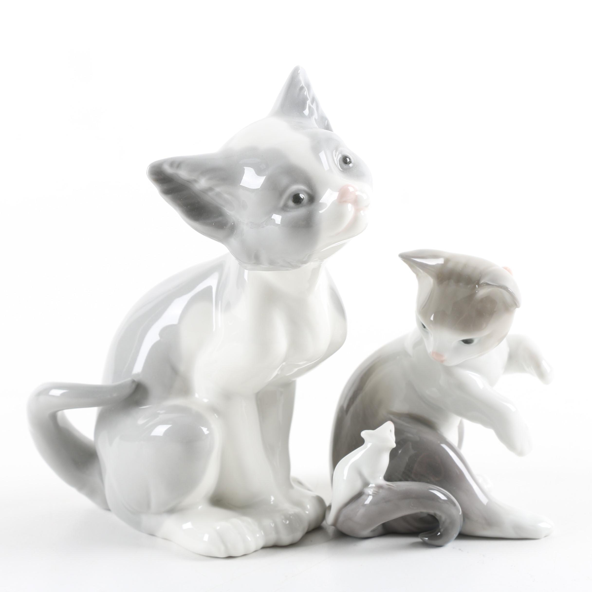 """Lladró """"Cat and Mouse"""" and """"Feed Me"""" Figurines"""