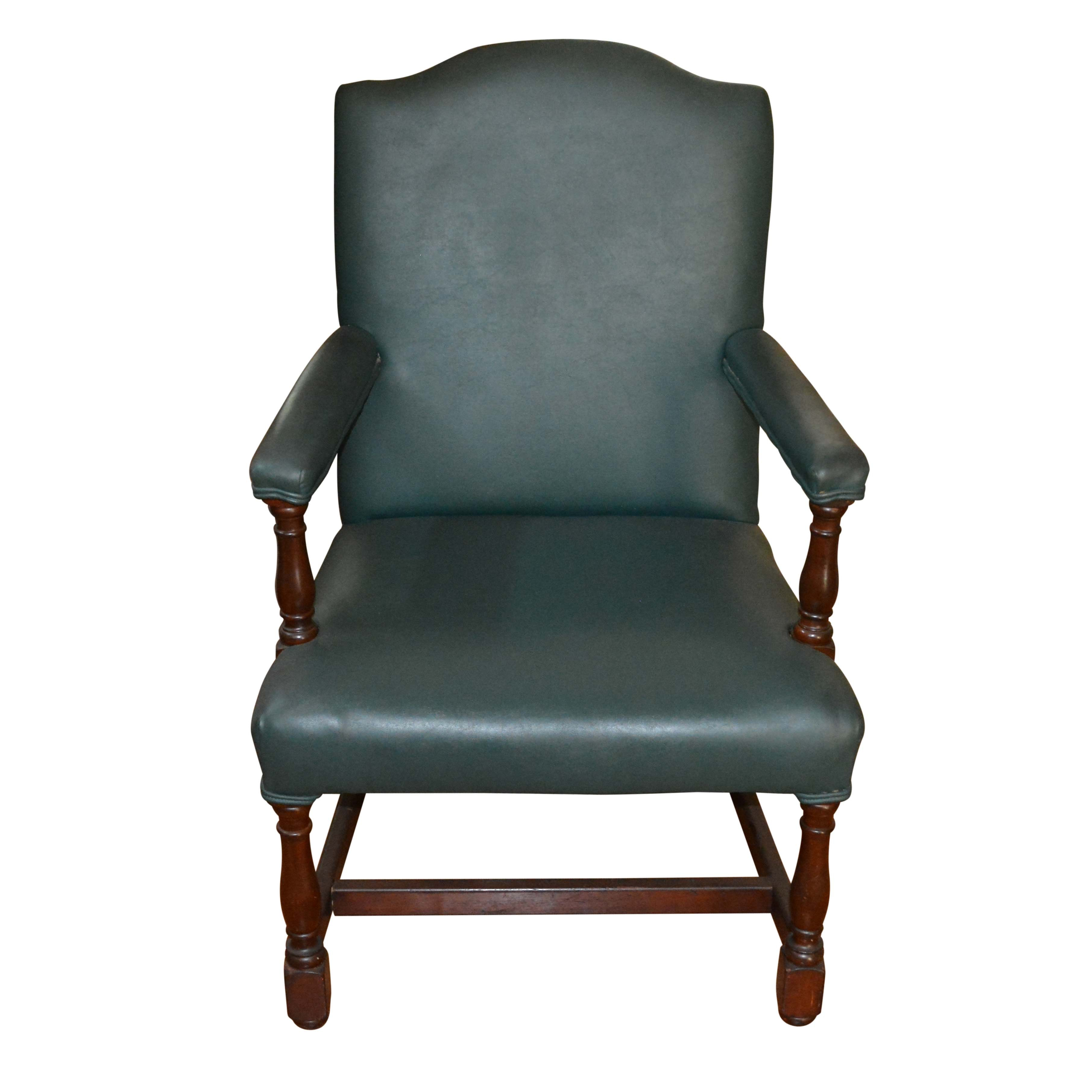 Vintage Green Faux Leather Armchair