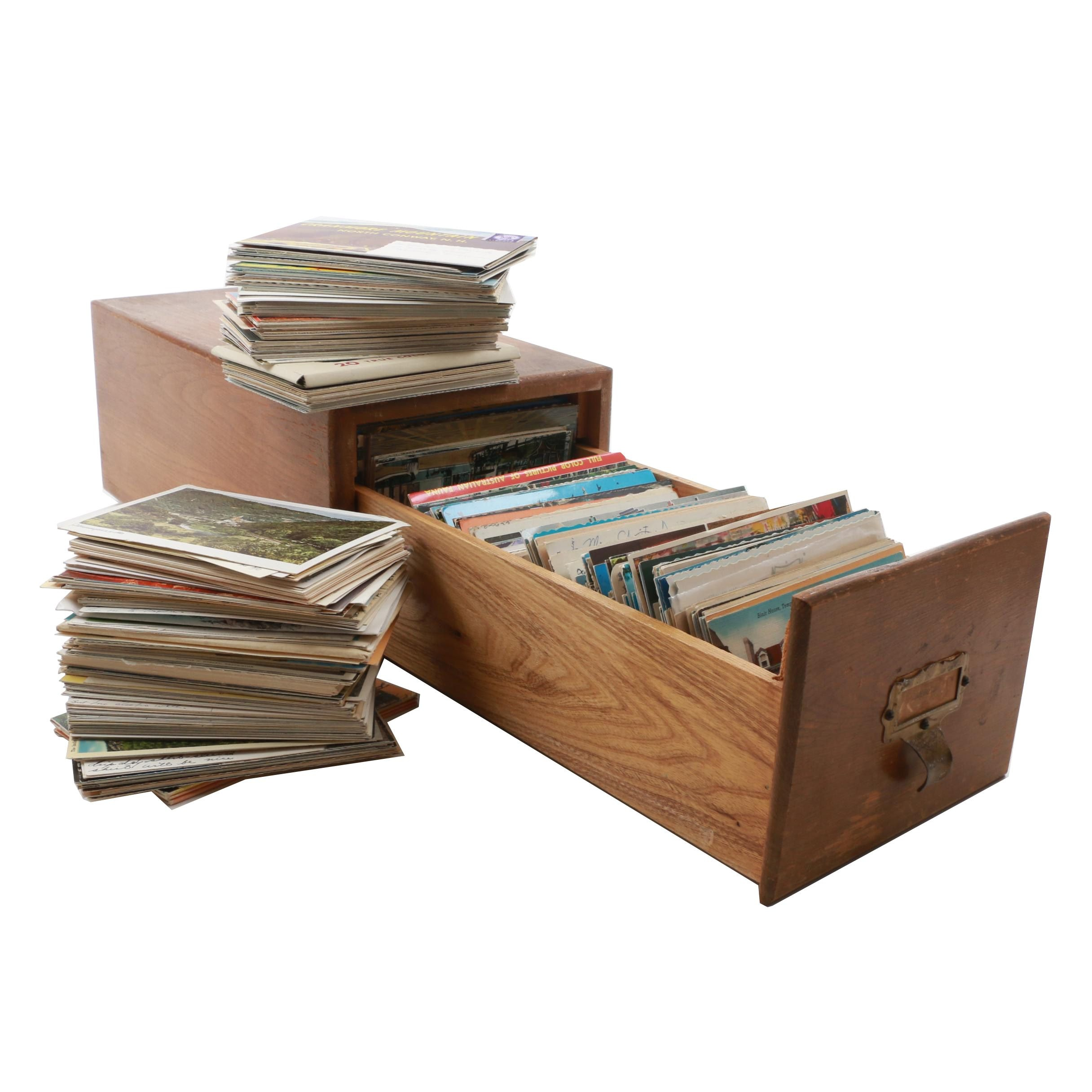 Large Assortment of Post Cards with Oak Filing Drawer