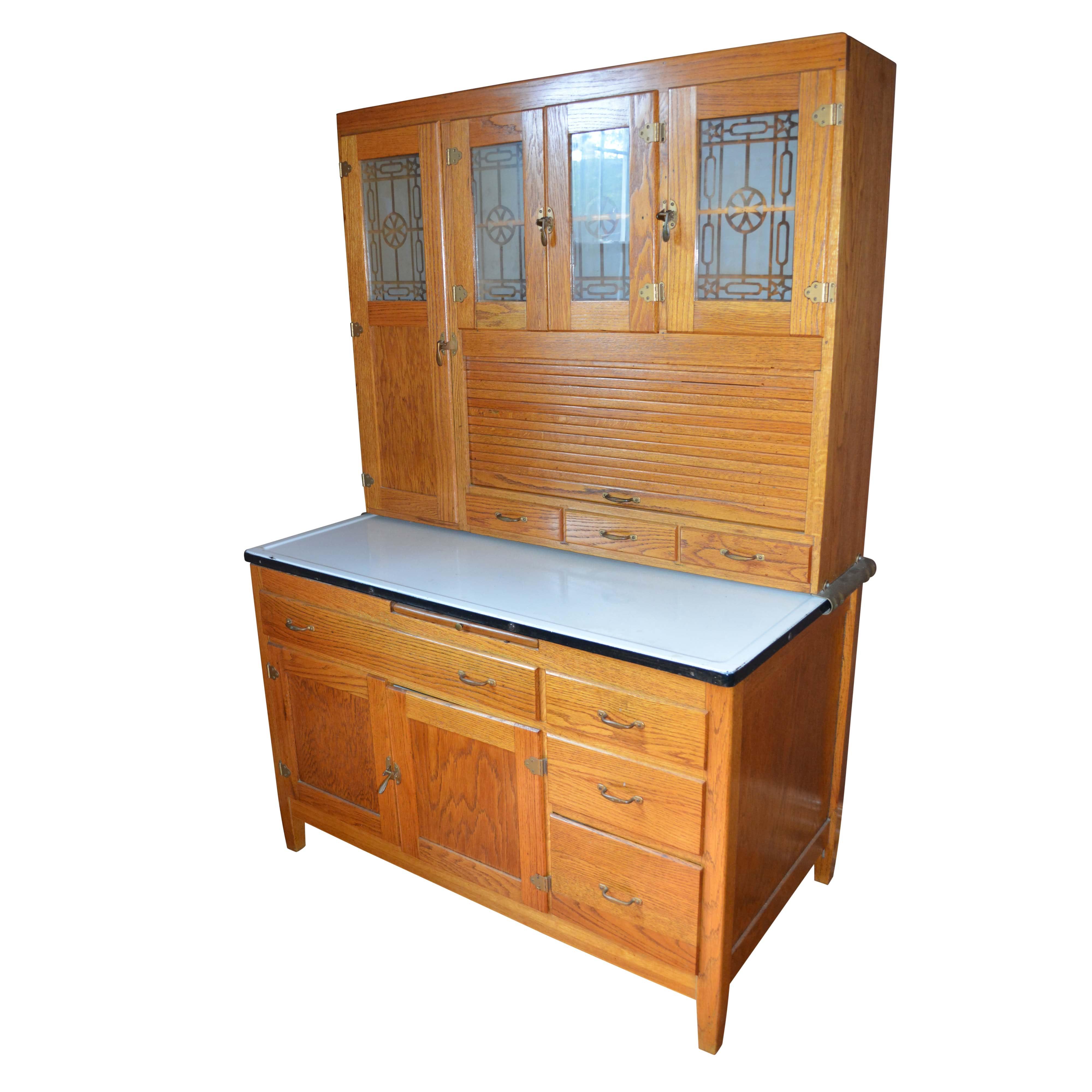 Vintage Two-Piece Oak Hoosier Cabinet