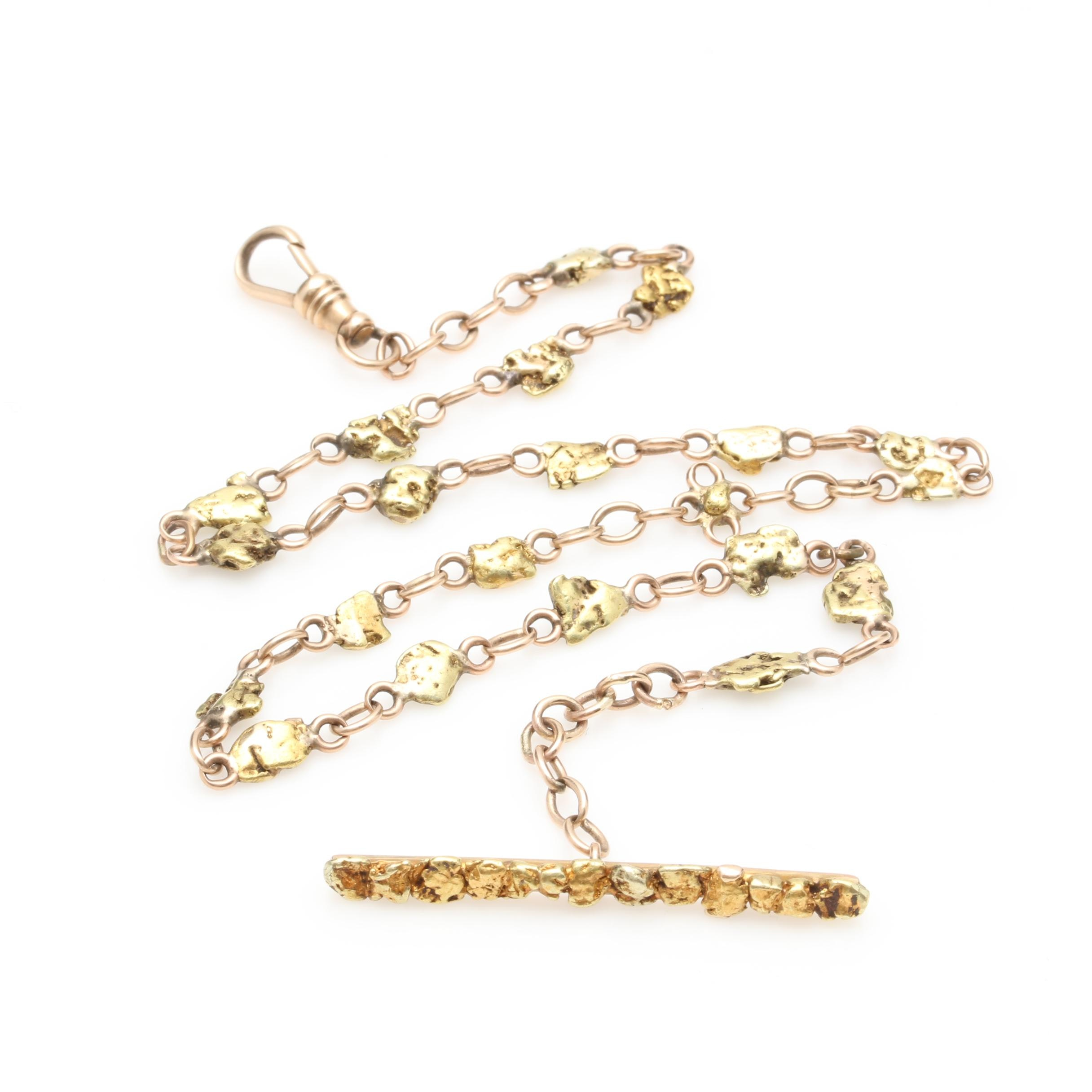 10K Yellow Gold Necklace with 18K Natural Nuggets