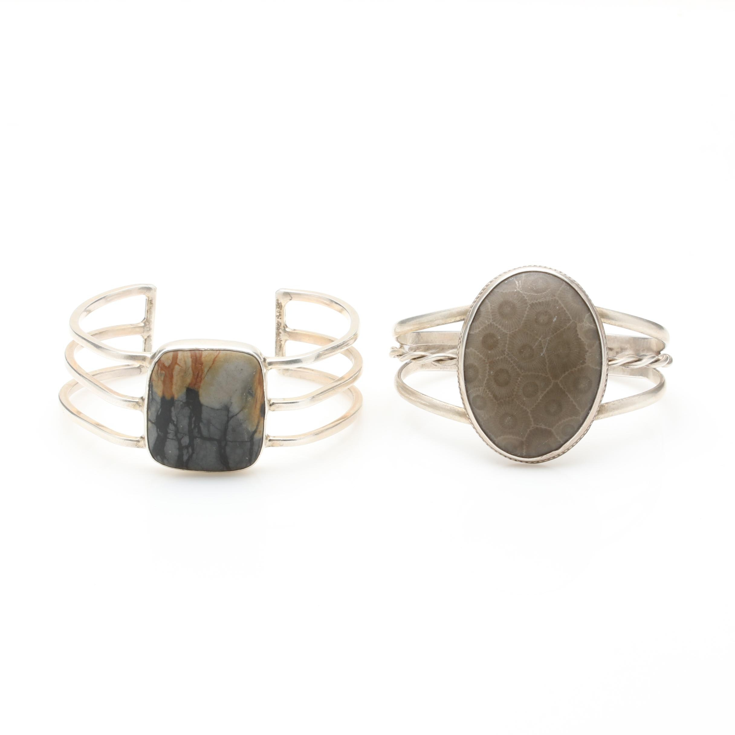 Sterling Silver Jasper and Petoslay Stone Cuff Bracelets