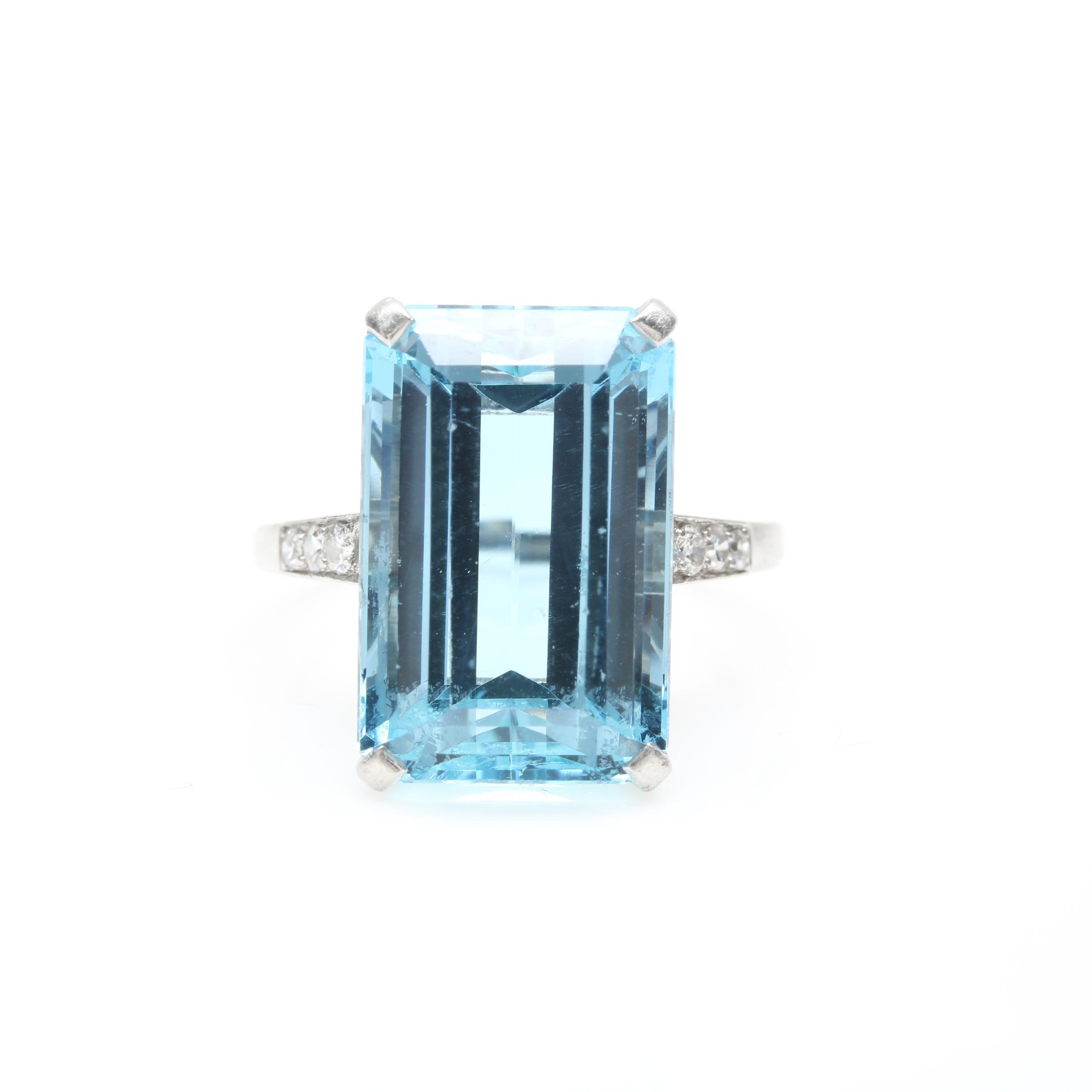 Platinum 9.96 CT Aquamarine and Diamond Ring