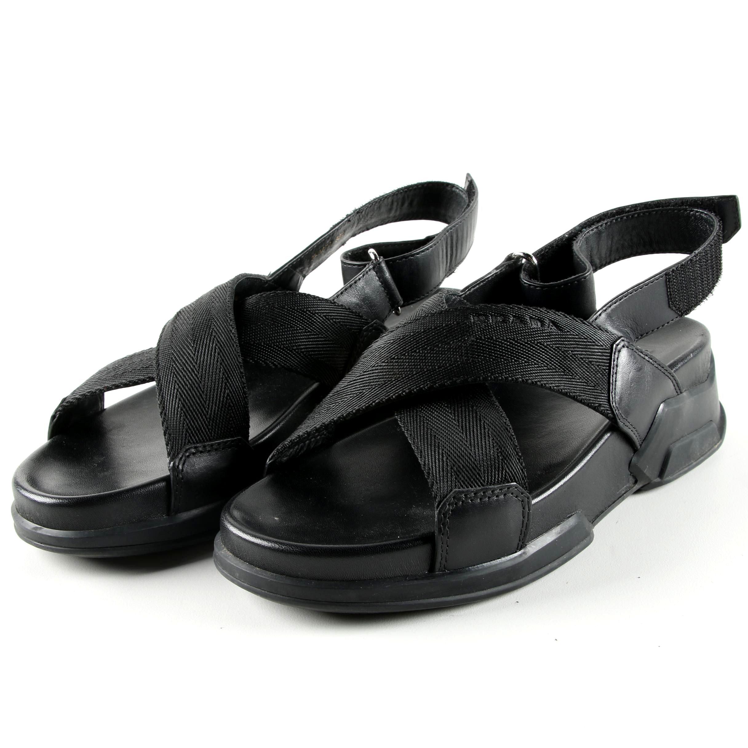 Prada Calzature Donna Black Vitello Plume Sandals
