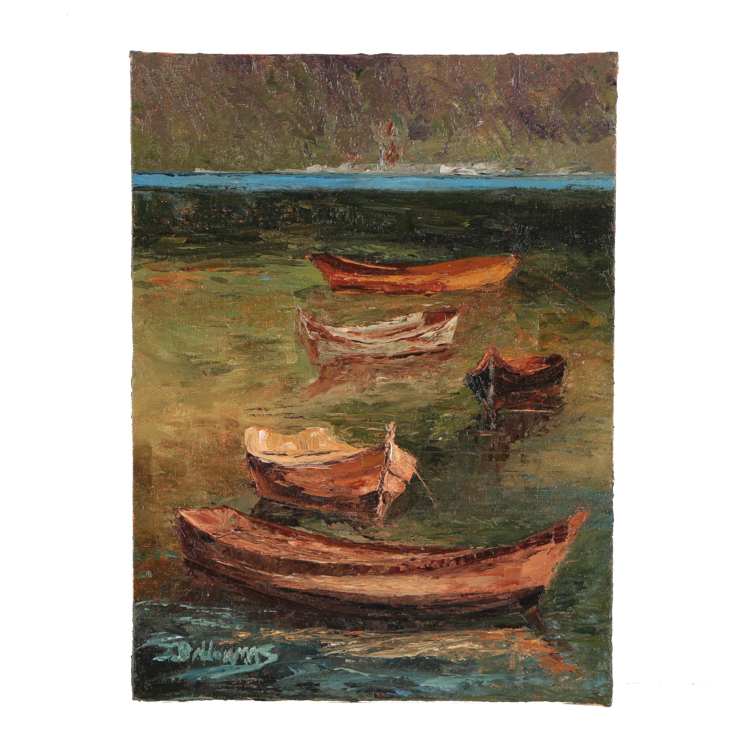 "James Baldoumas Oil Painting ""Five Boats"""