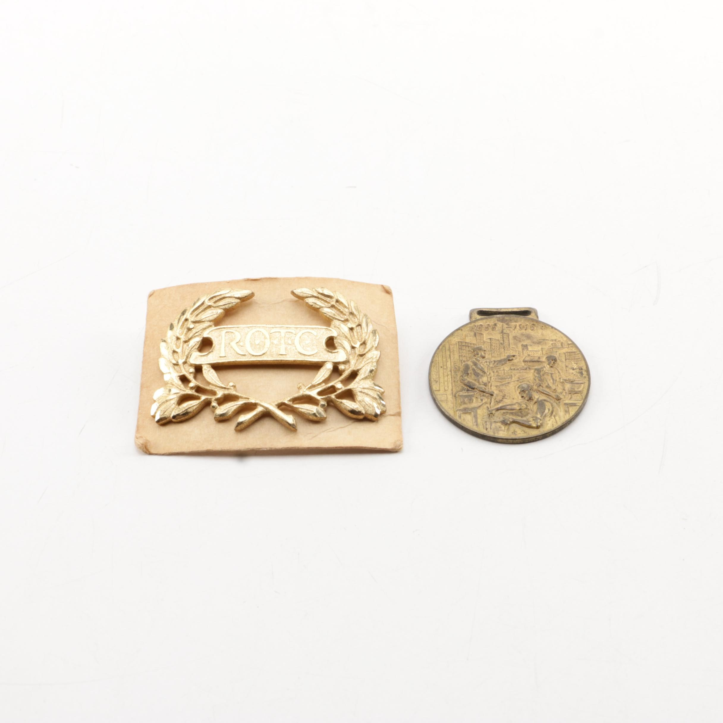 ROTC Pin and 1916 Sherwin-Williams Golden Jubilee Convention Badge