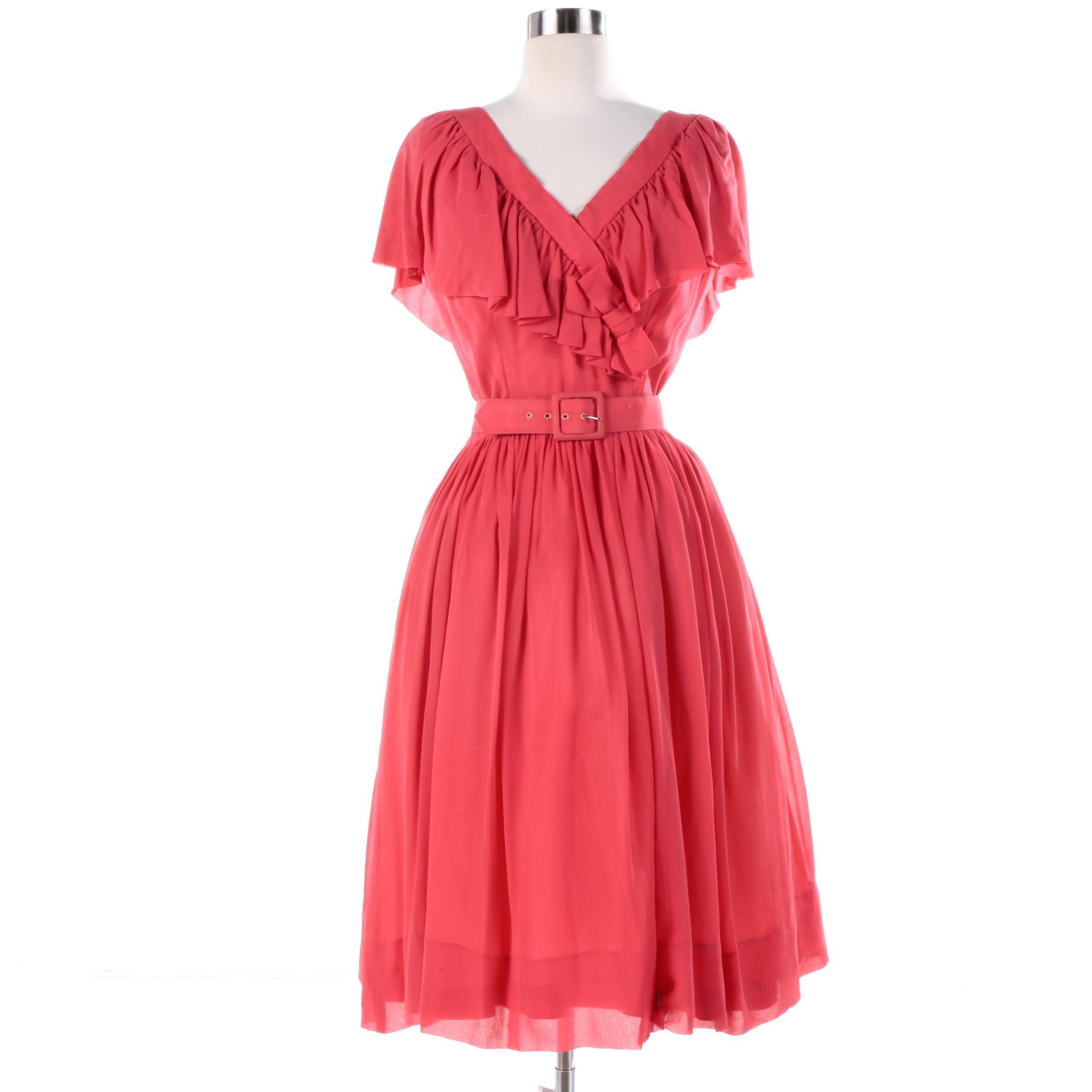 Circa 1950s Vintage Suzy Perette Chiffon Cocktail Dress