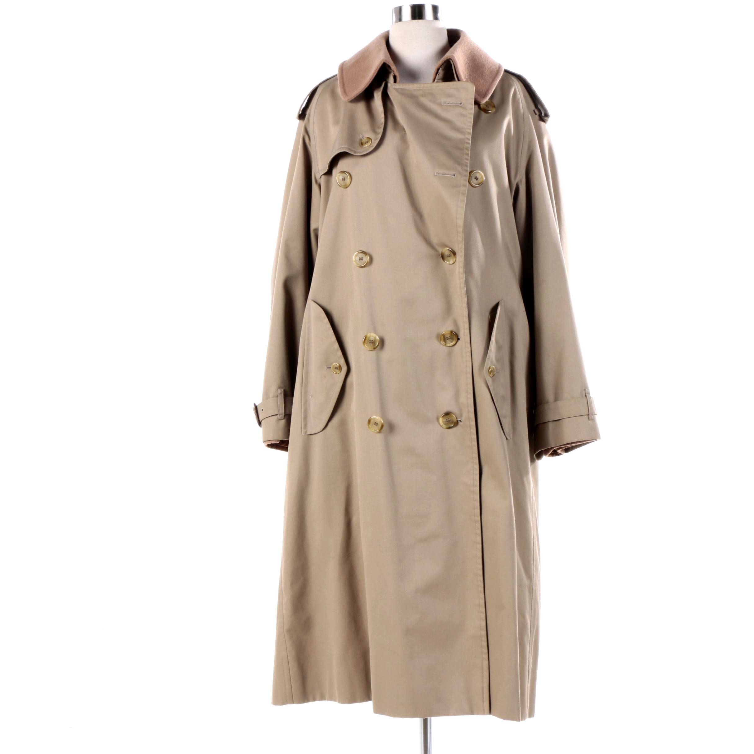 Men's Vintage Burberry Double-Breasted Trench Coat with Removable Wool Liner