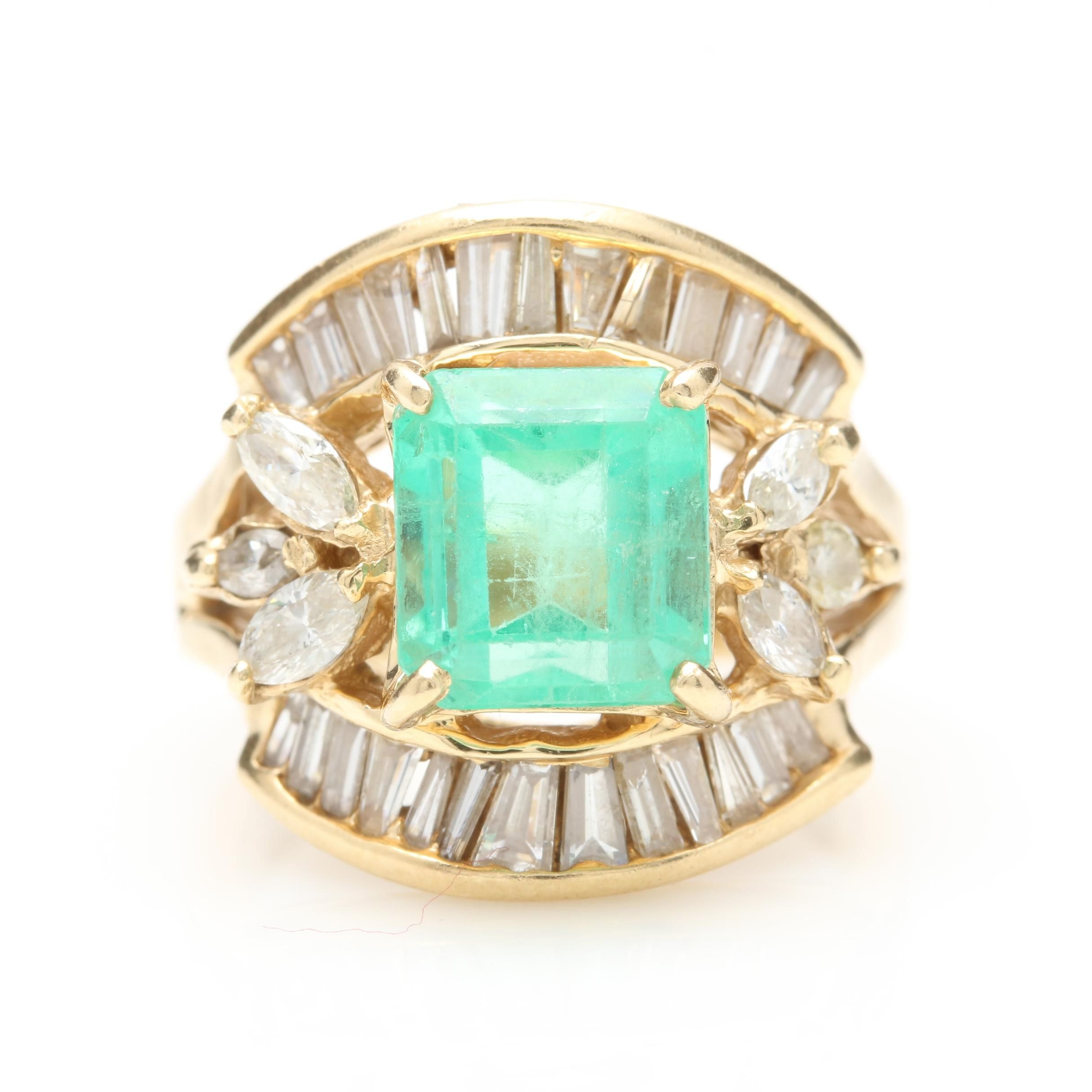 14K Yellow Gold 3.04 CT Emerald and 1.72 CTW Diamond Ring