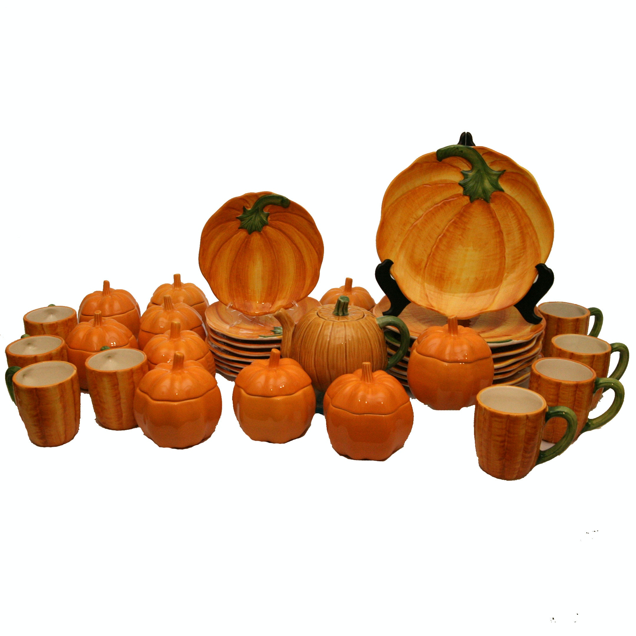Bordallo Pinheiro and Italian Ceramic Pumpkin Motif Dinnerware