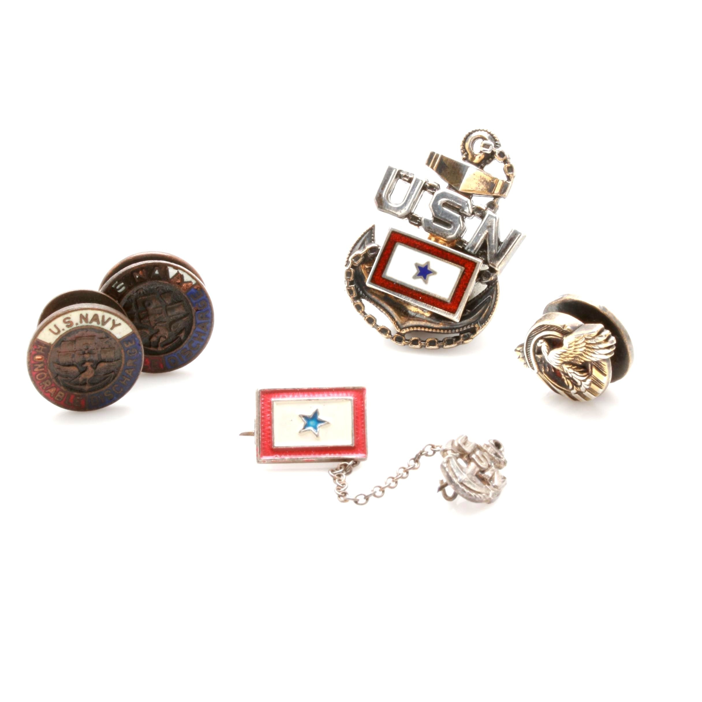 Vintage Military and Navy Pins and Button Studs Including Sterling Silver
