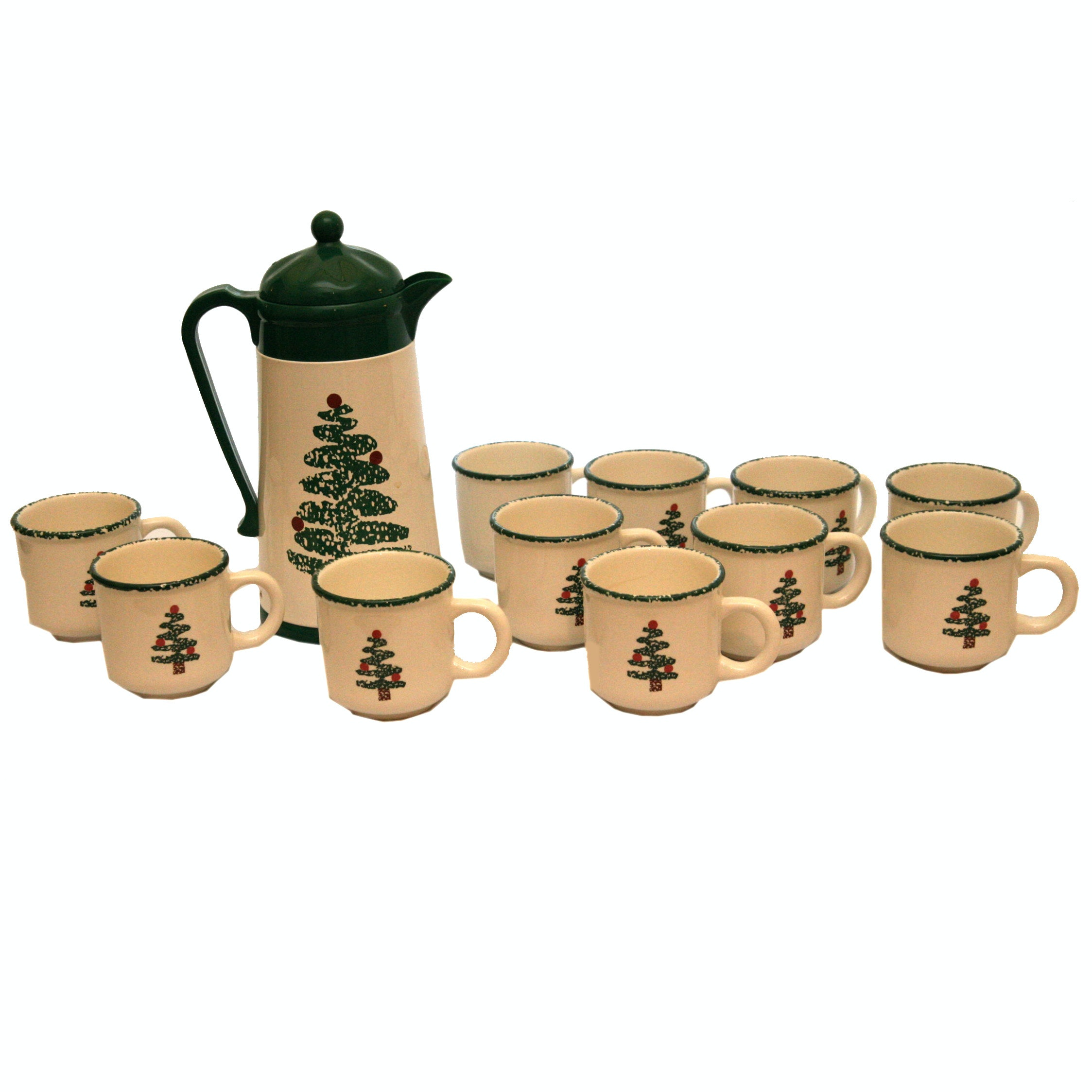 Furio Christmas Tree Motif Ceramic Coffee Service