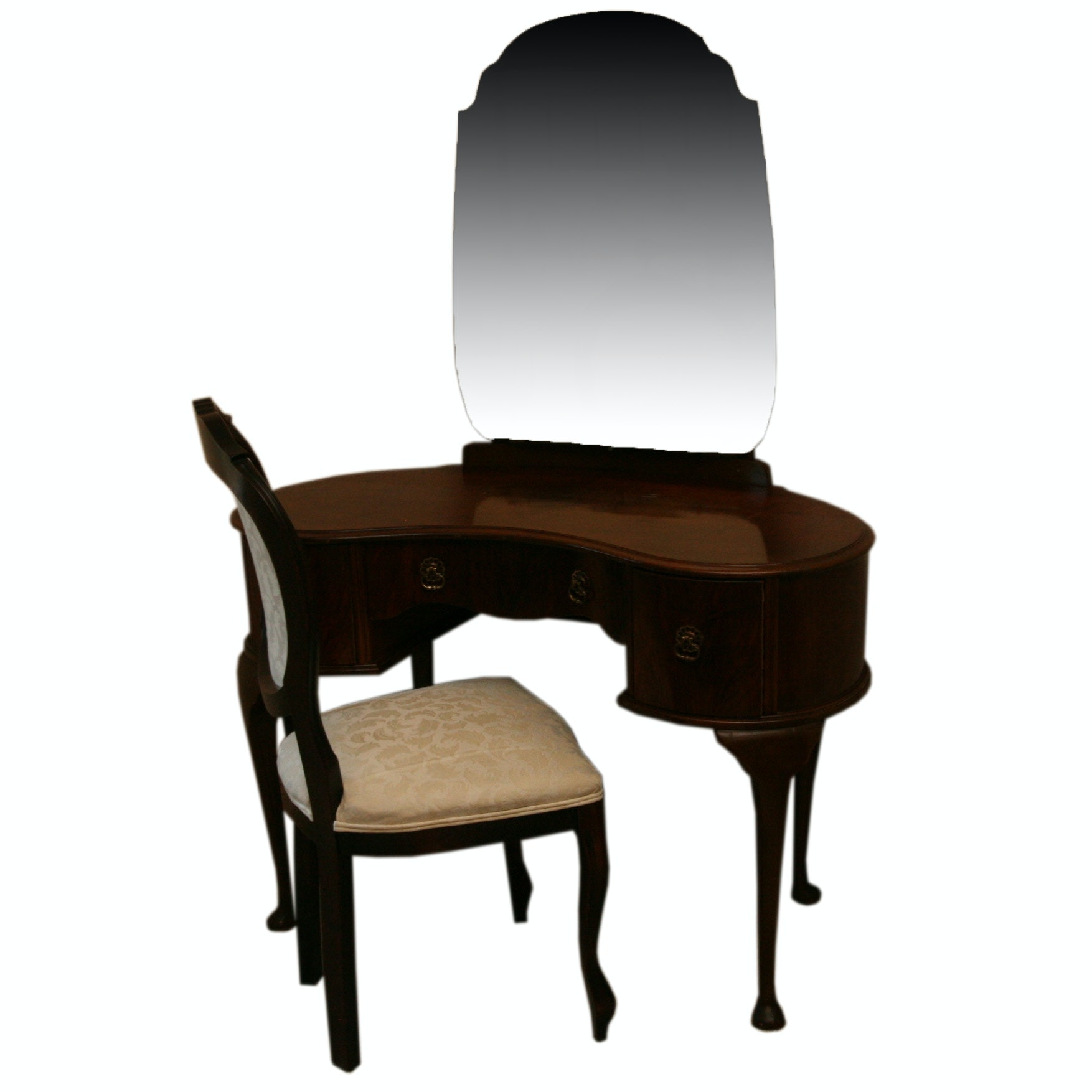 Kidney Shaped Vanity Table with Mirror and Chair