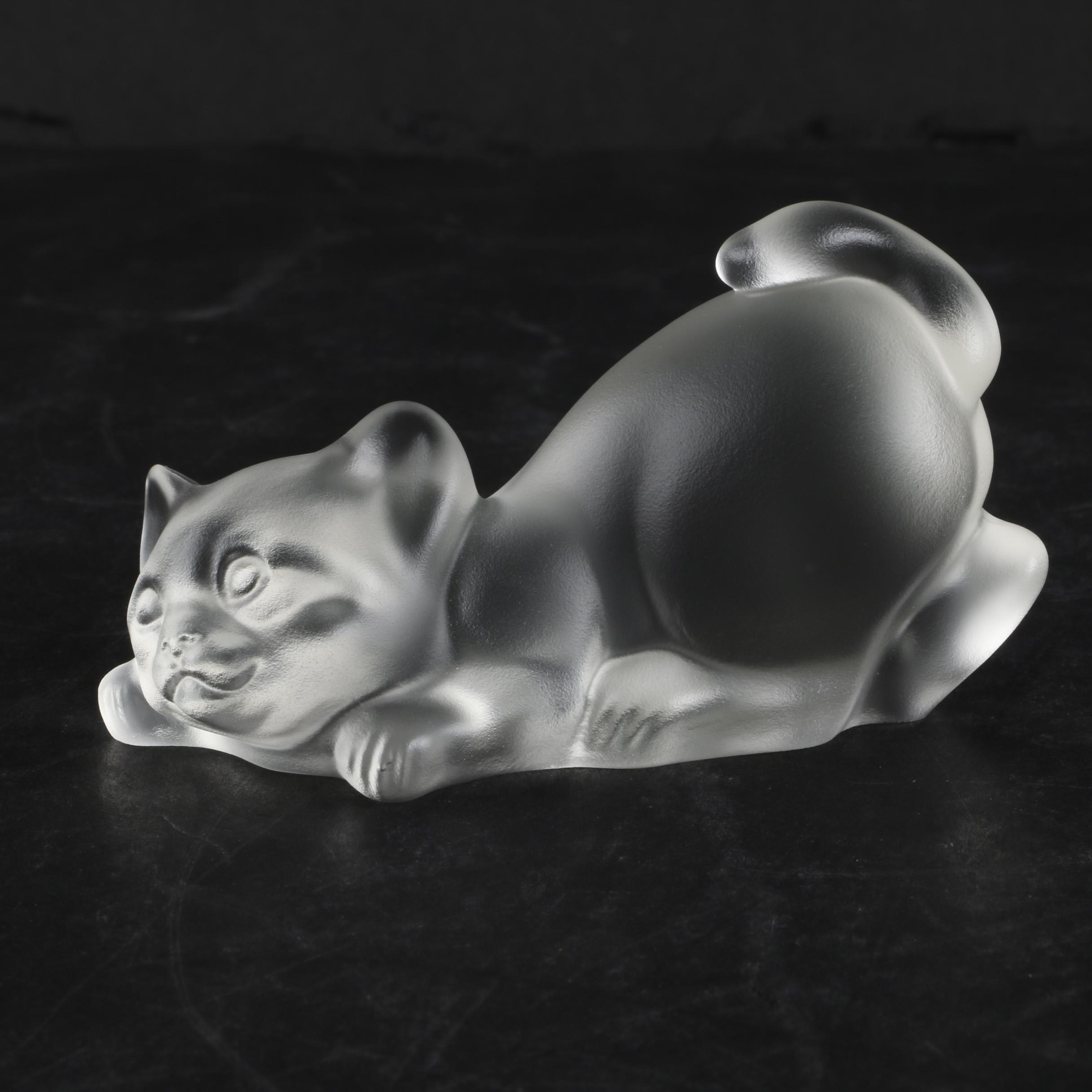 Frosted Glass Cat Figurine