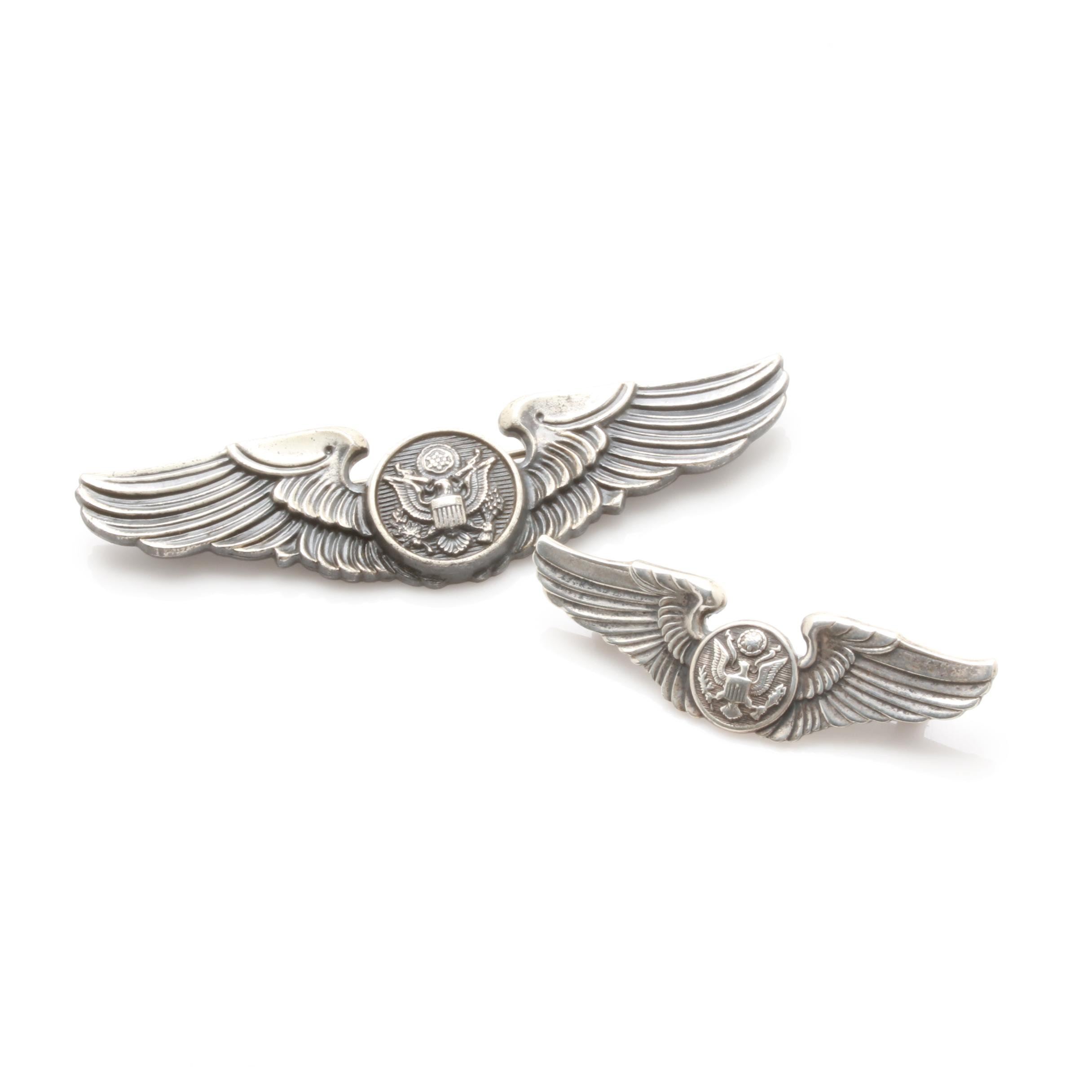 Selection of Sterling Silver Army Airforce Aircrew Wings Pins