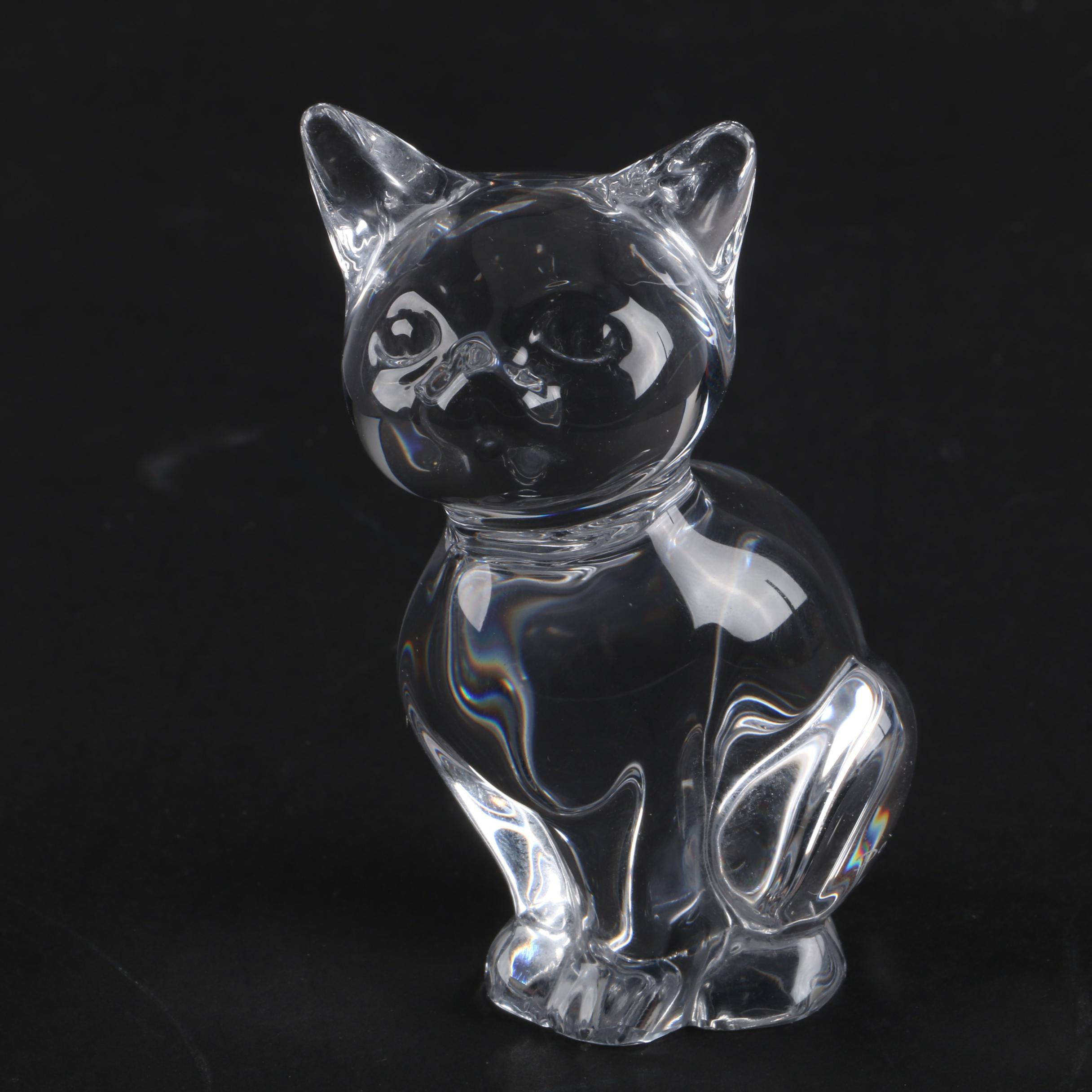 Daum Crystal Cat Figurine