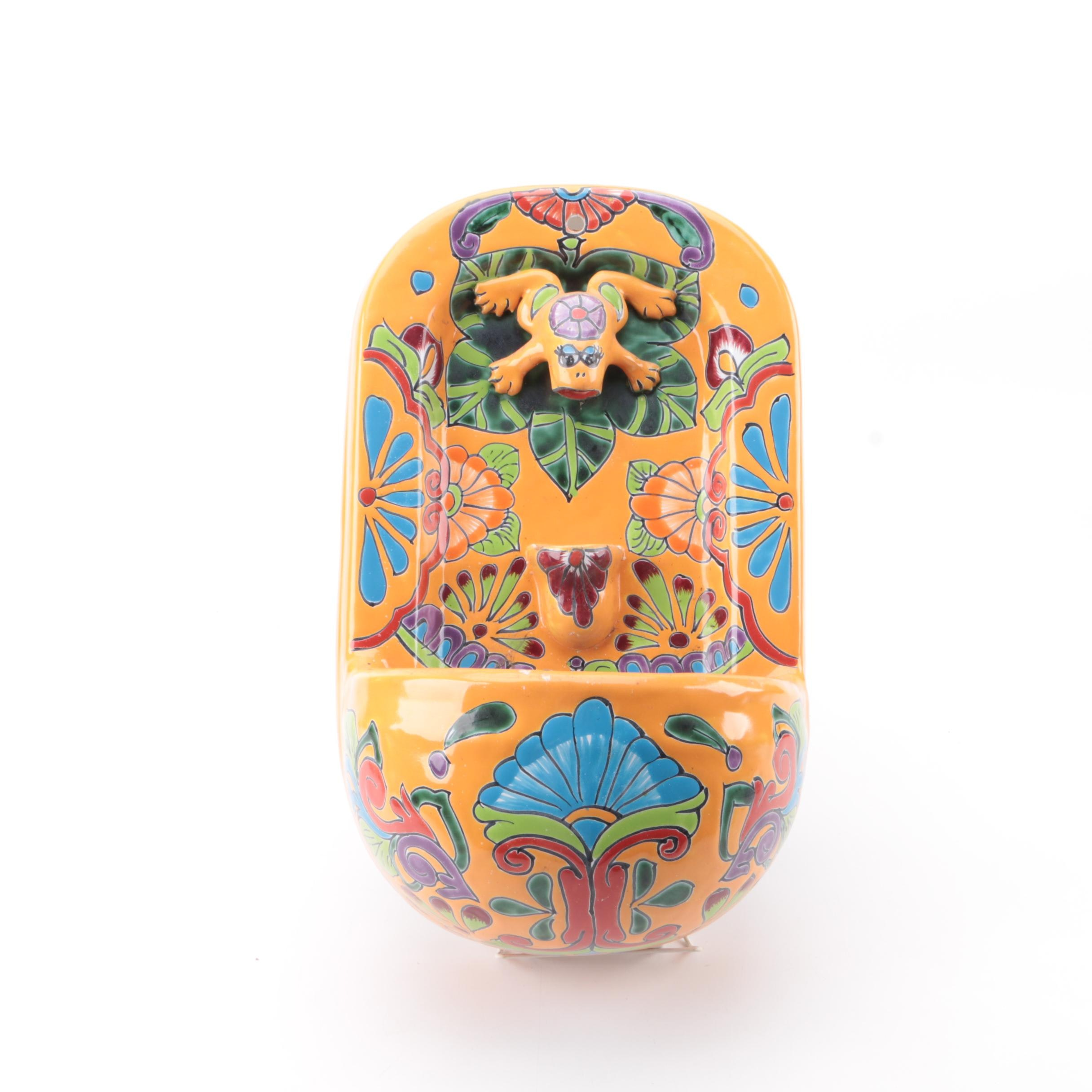 Mexican Hand-Painted Castillo Family Earthenware Wall Fountain