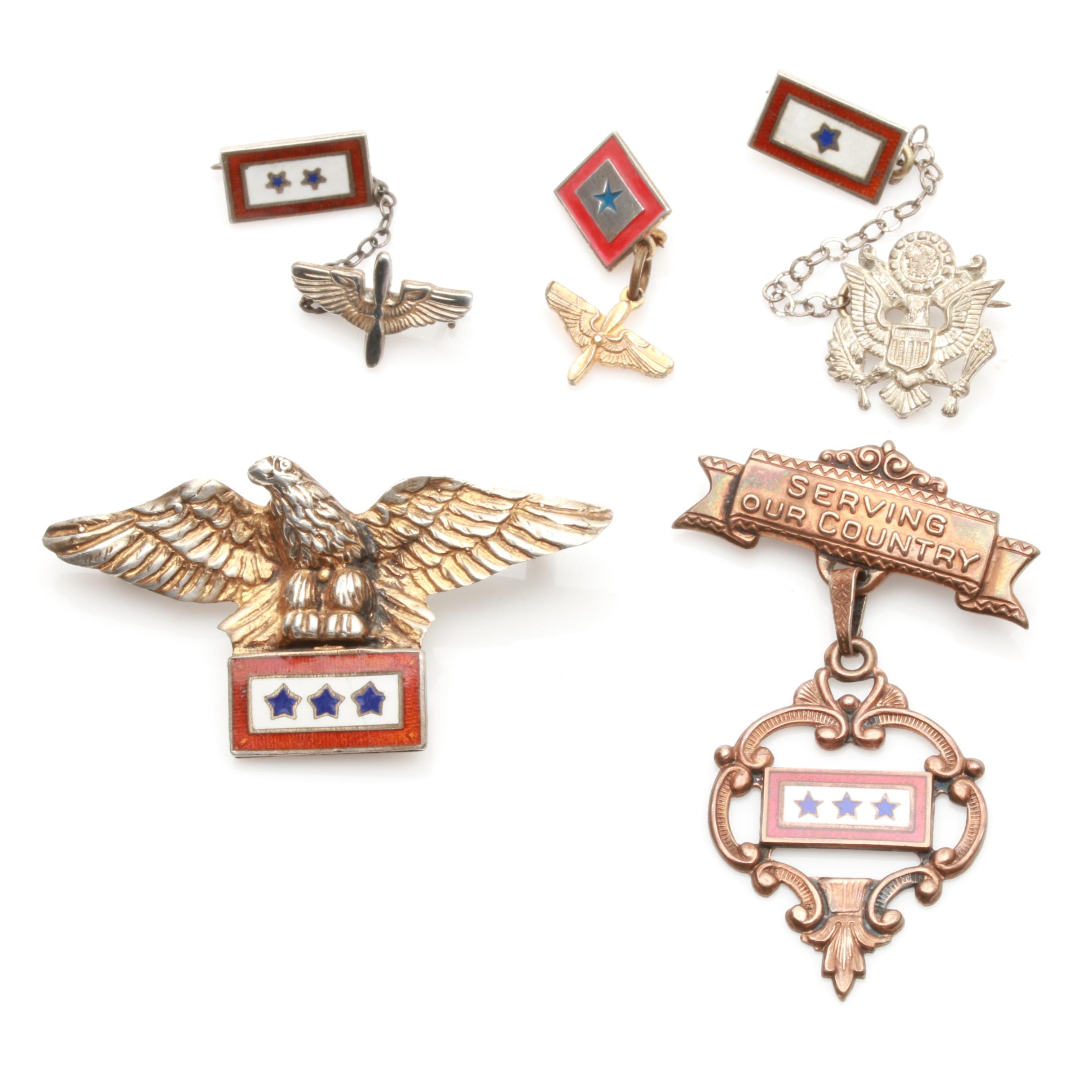 Sterling Silver Enamel Service Flag Pins