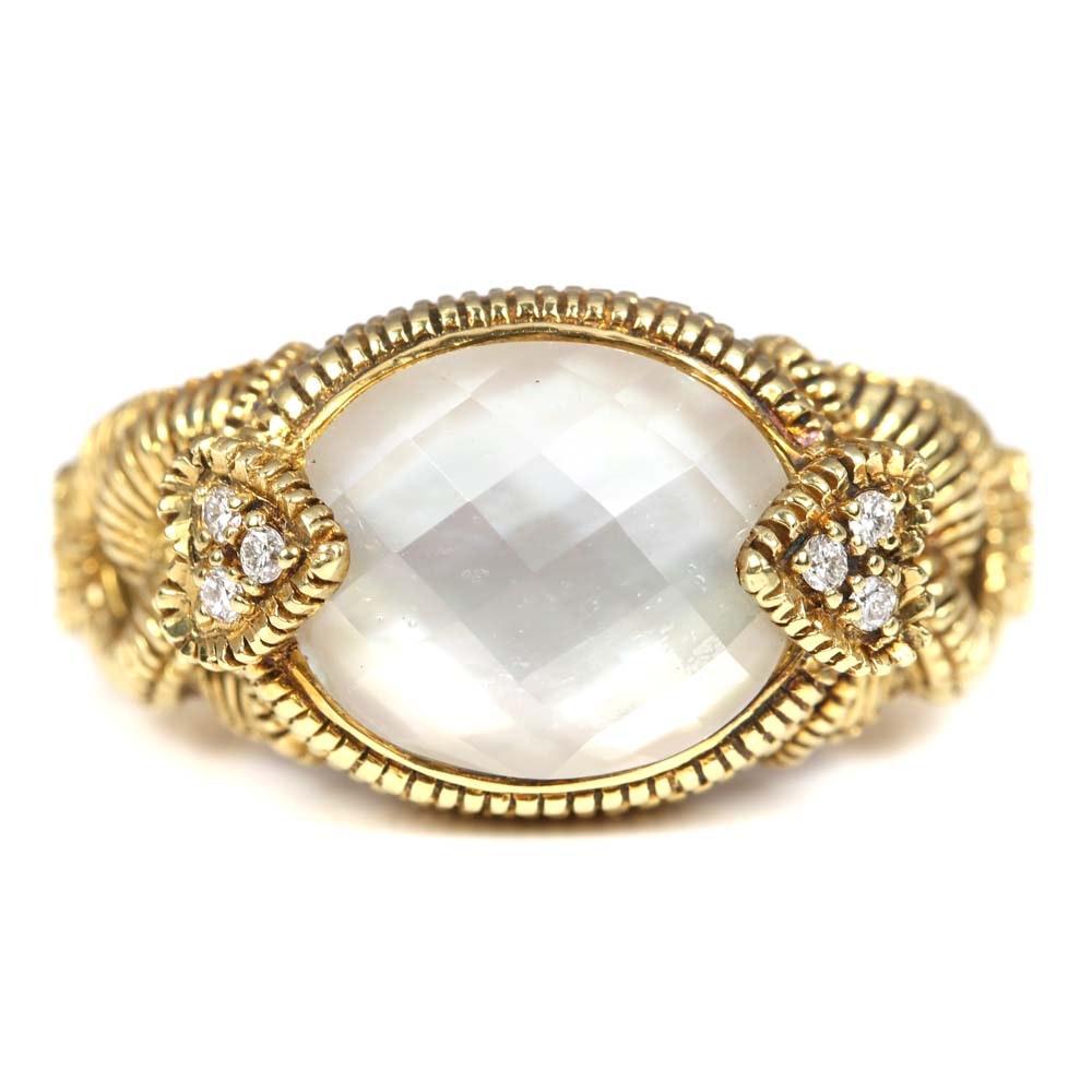 Judith Ripka 18K Yellow Gold Quartz and Diamond Ring