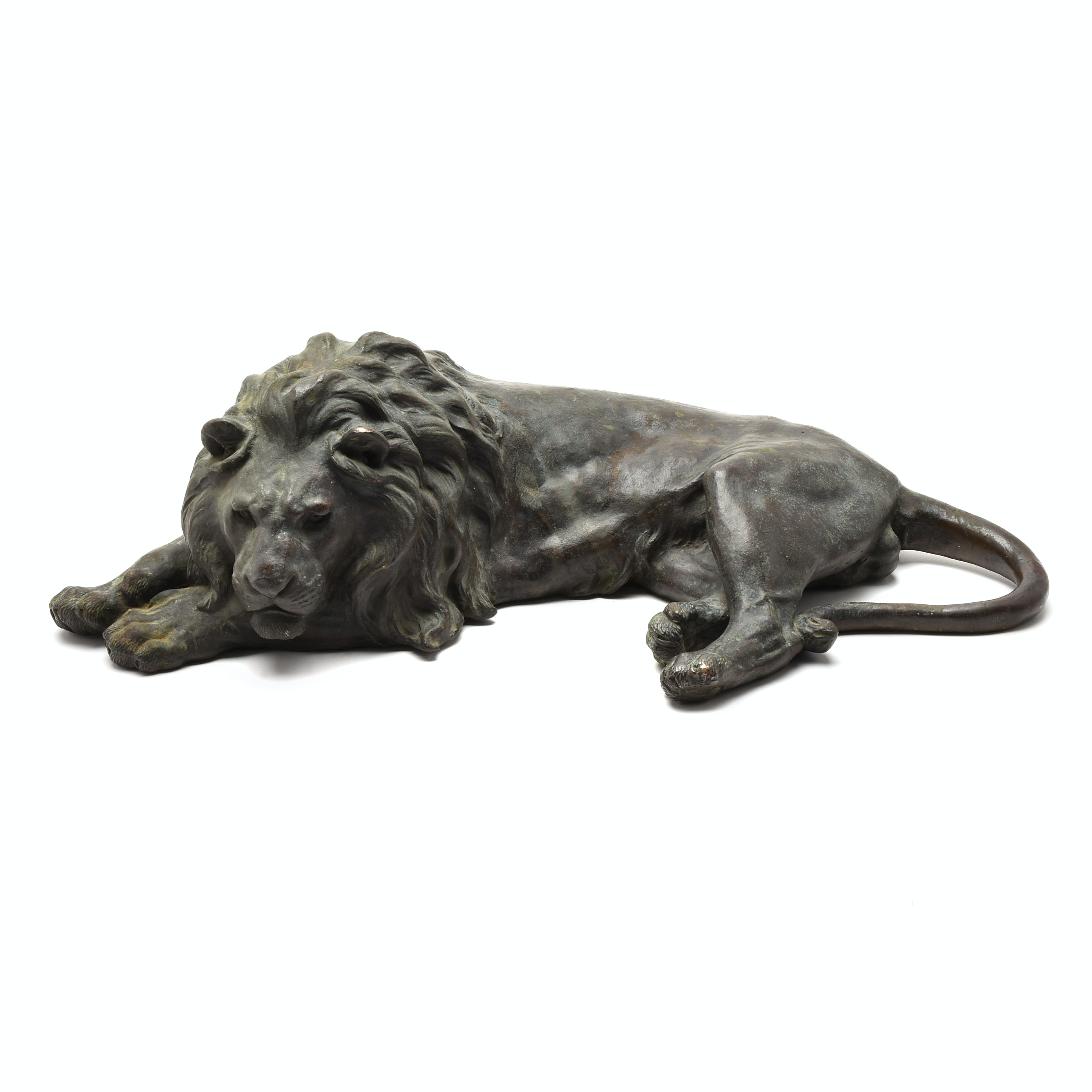 Japanese Cast Bronze Laying Lion Sculpture