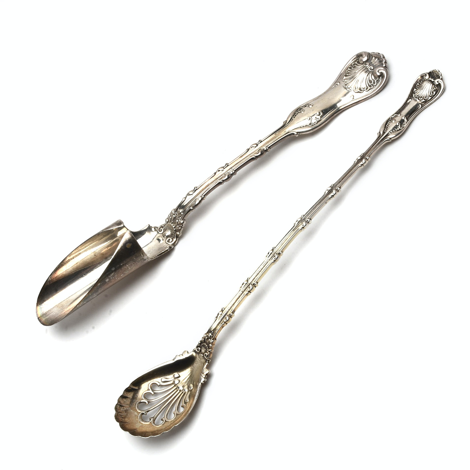 "Whiting Sterling Silver ""Imperial Queen"" Cheese Scoop and Olive Spoon"