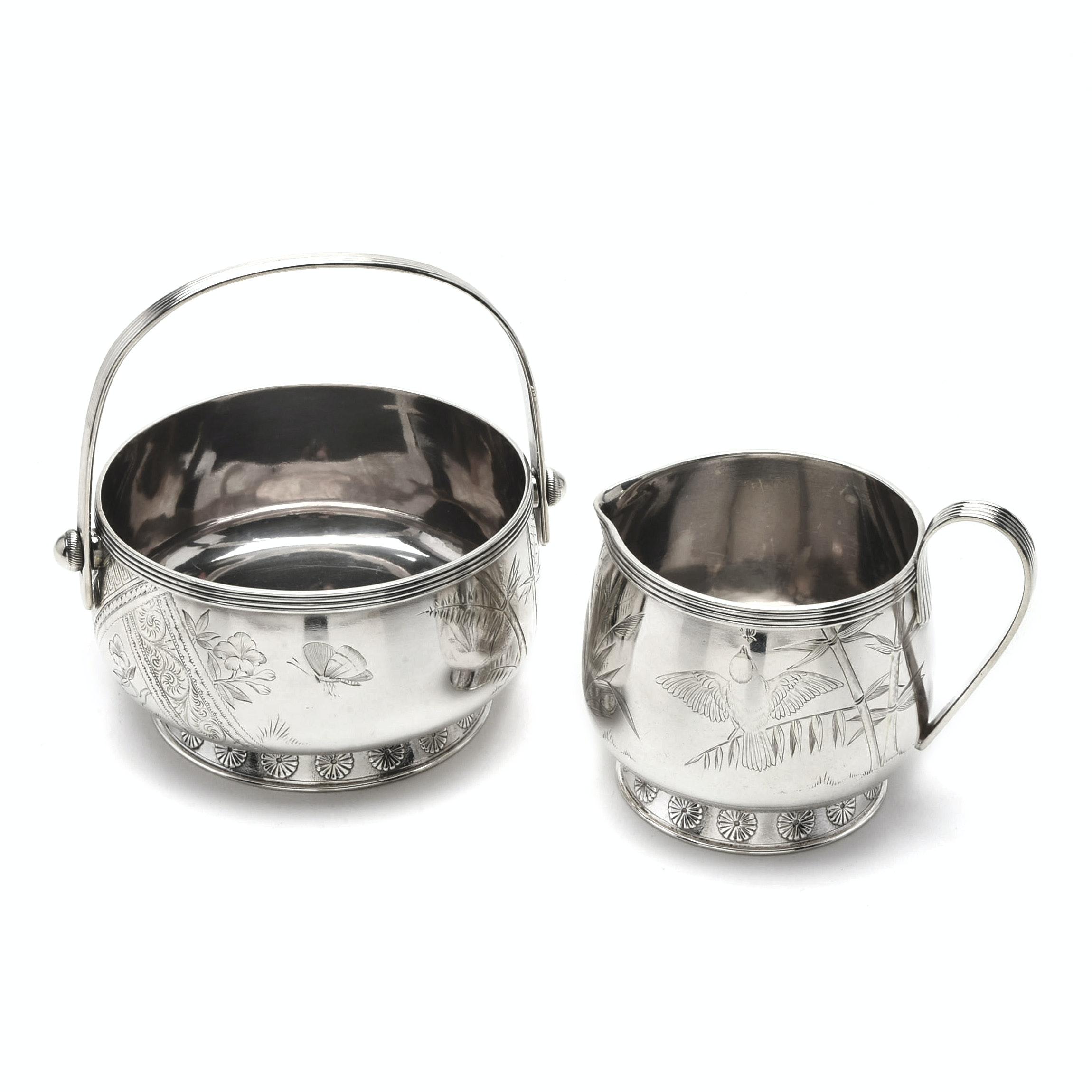 Gorham Sterling Silver Engraved Open Sugar Bowl and Creamer