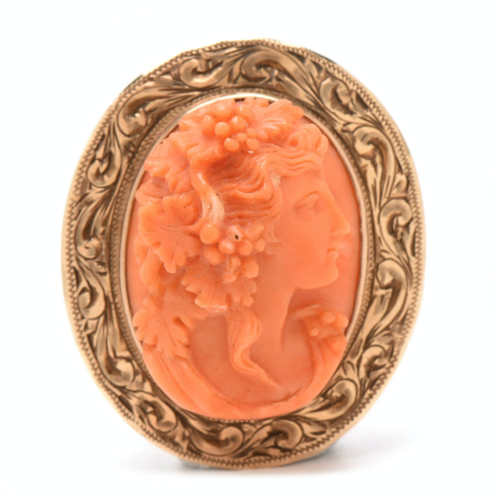 Antique 10K Yellow Gold High-Relief Carved Coral Cameo of Bacchus