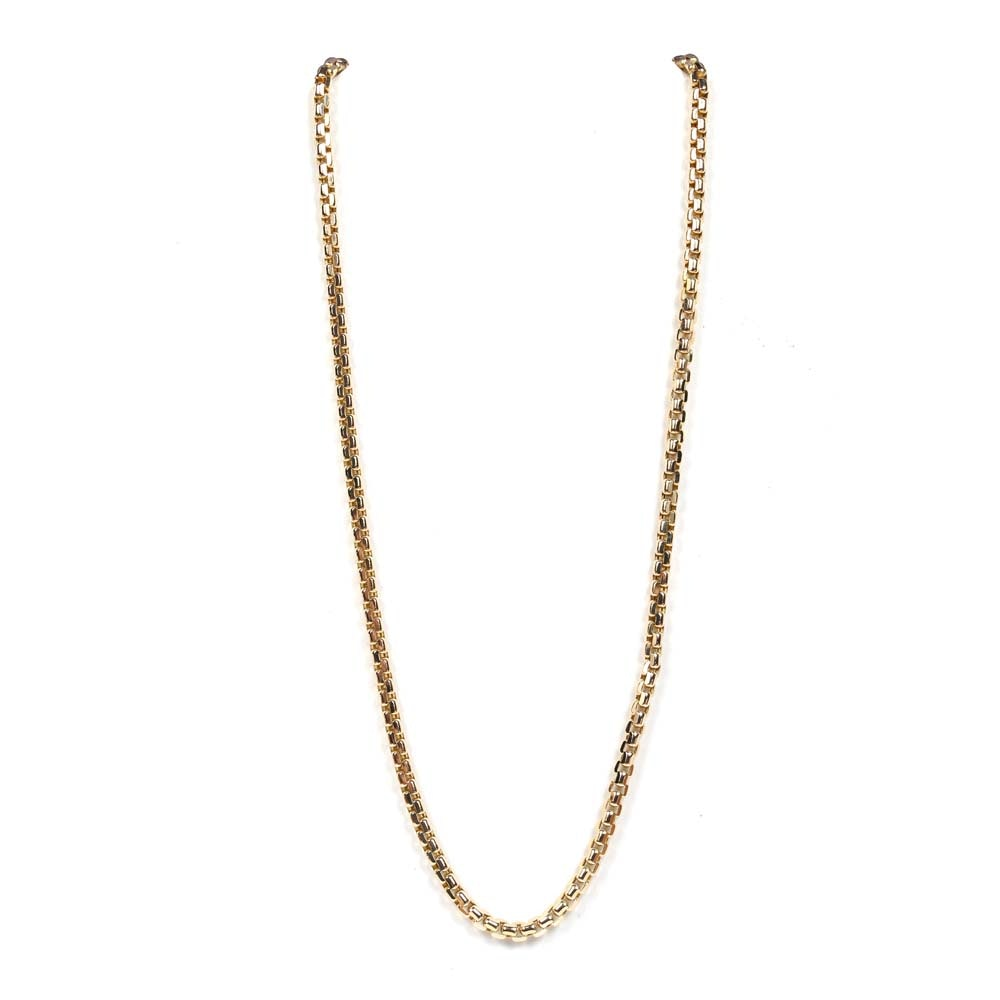 10K Yellow Gold Beveled Link Chain Necklace
