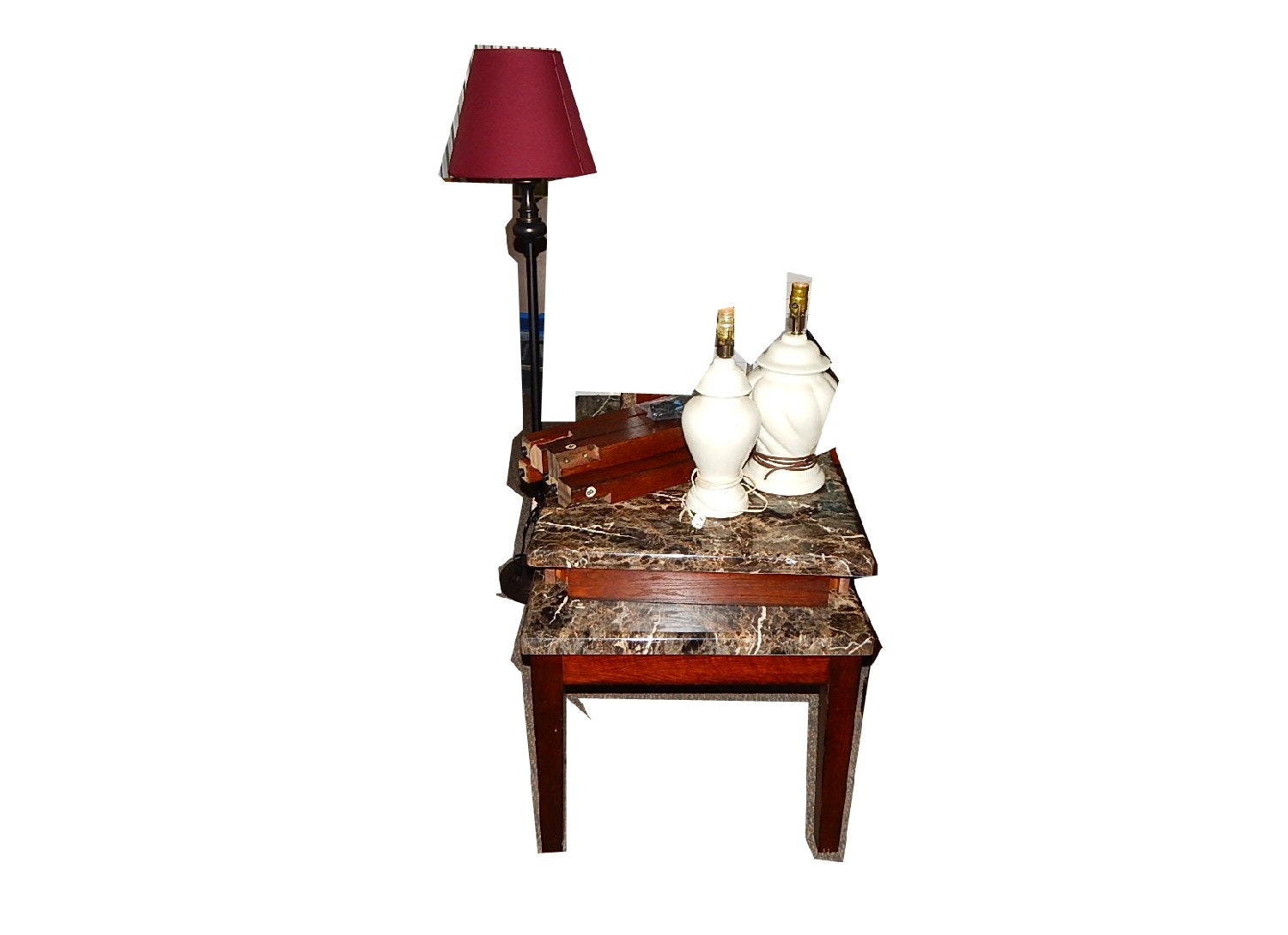 Three Piece Coffee Table Set With Floor Lamp And Two Table Lamps ...
