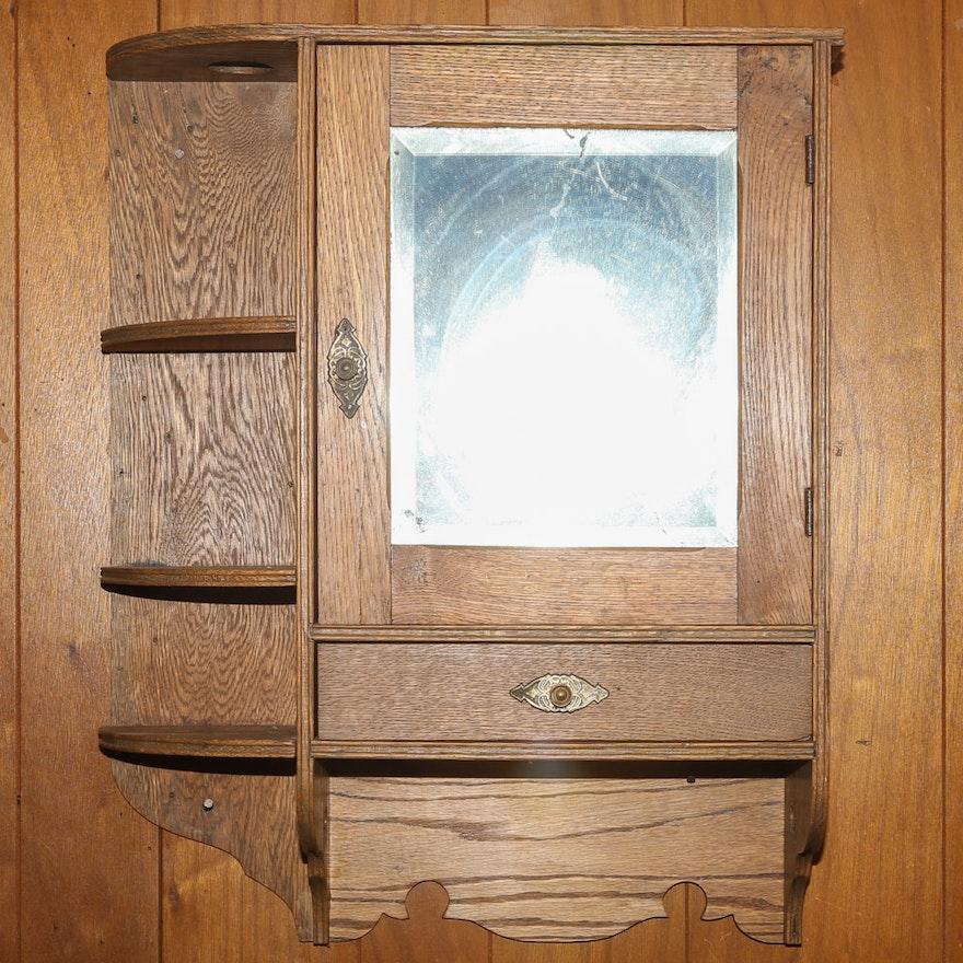 Vintage Oak Medicine Cabinet ... - Vintage Oak Medicine Cabinet : EBTH