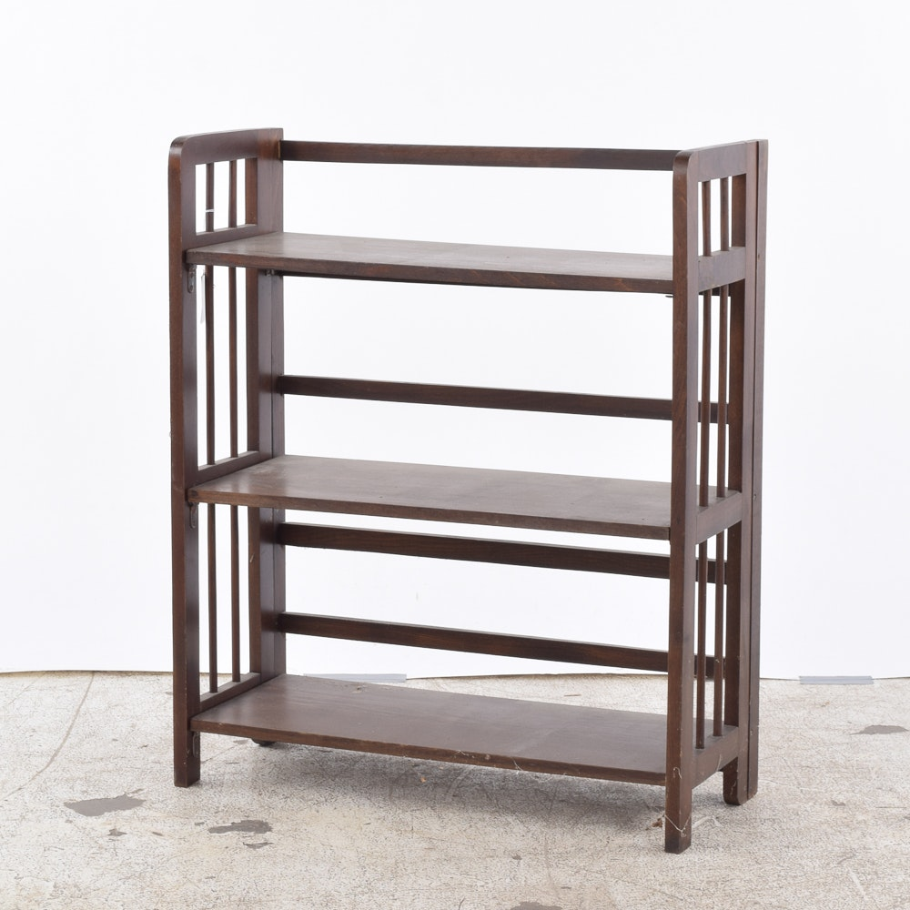 Dark Stained Wooden Folding Bookcase
