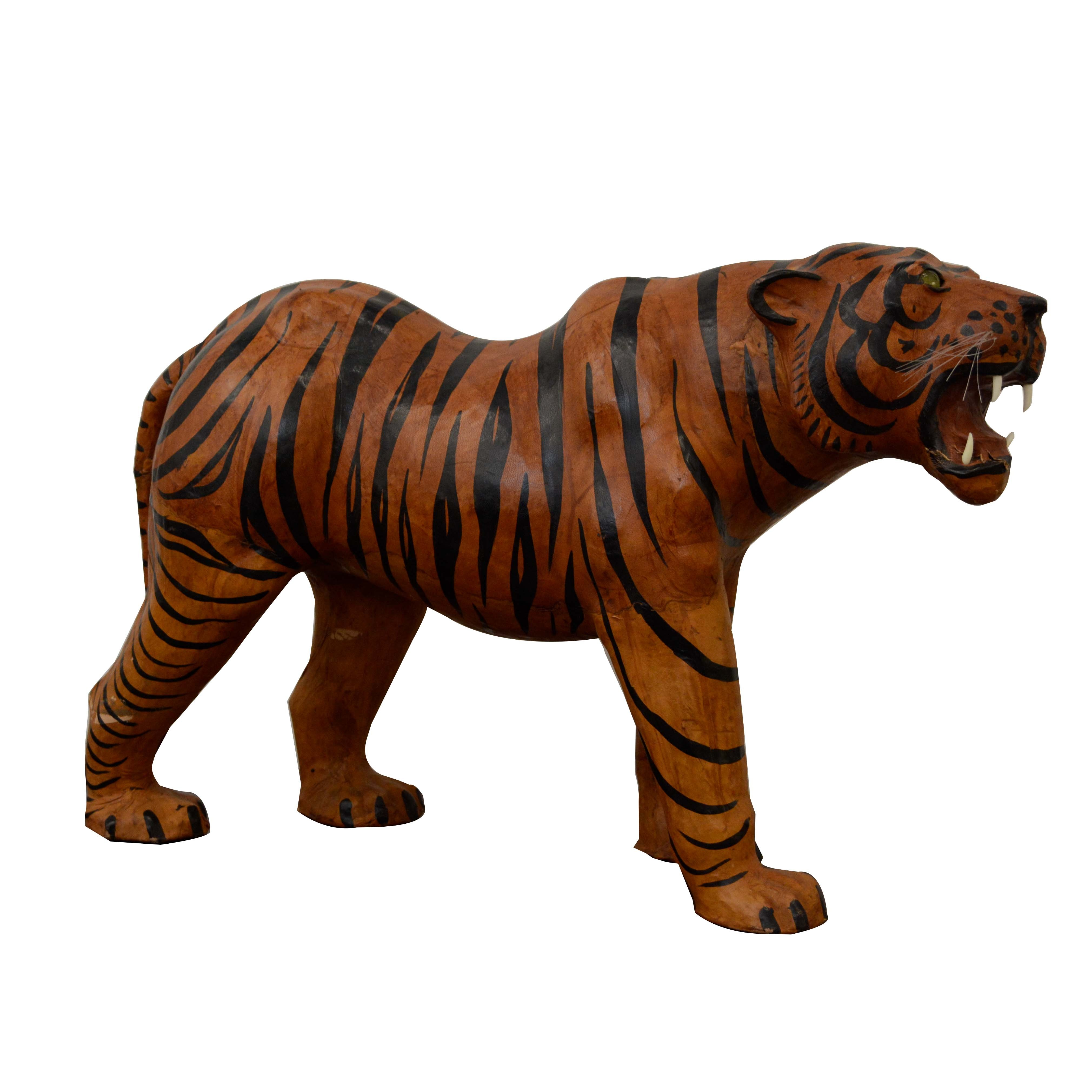 Large Leather-Covered Mixed Media Painted Tiger Sculpture