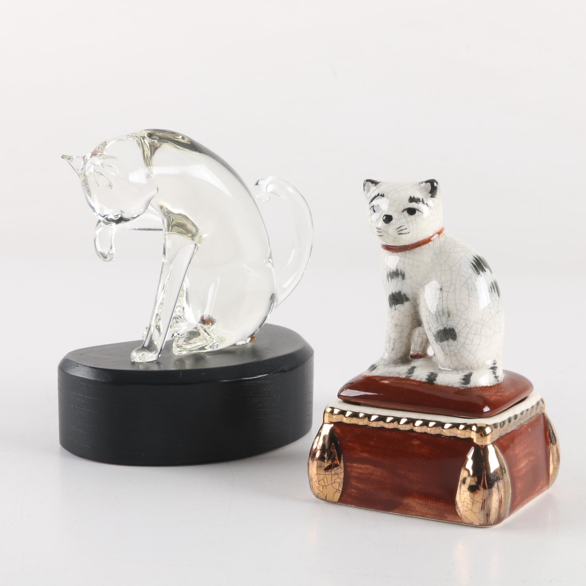 Ceramic and Glass Cat Figurines